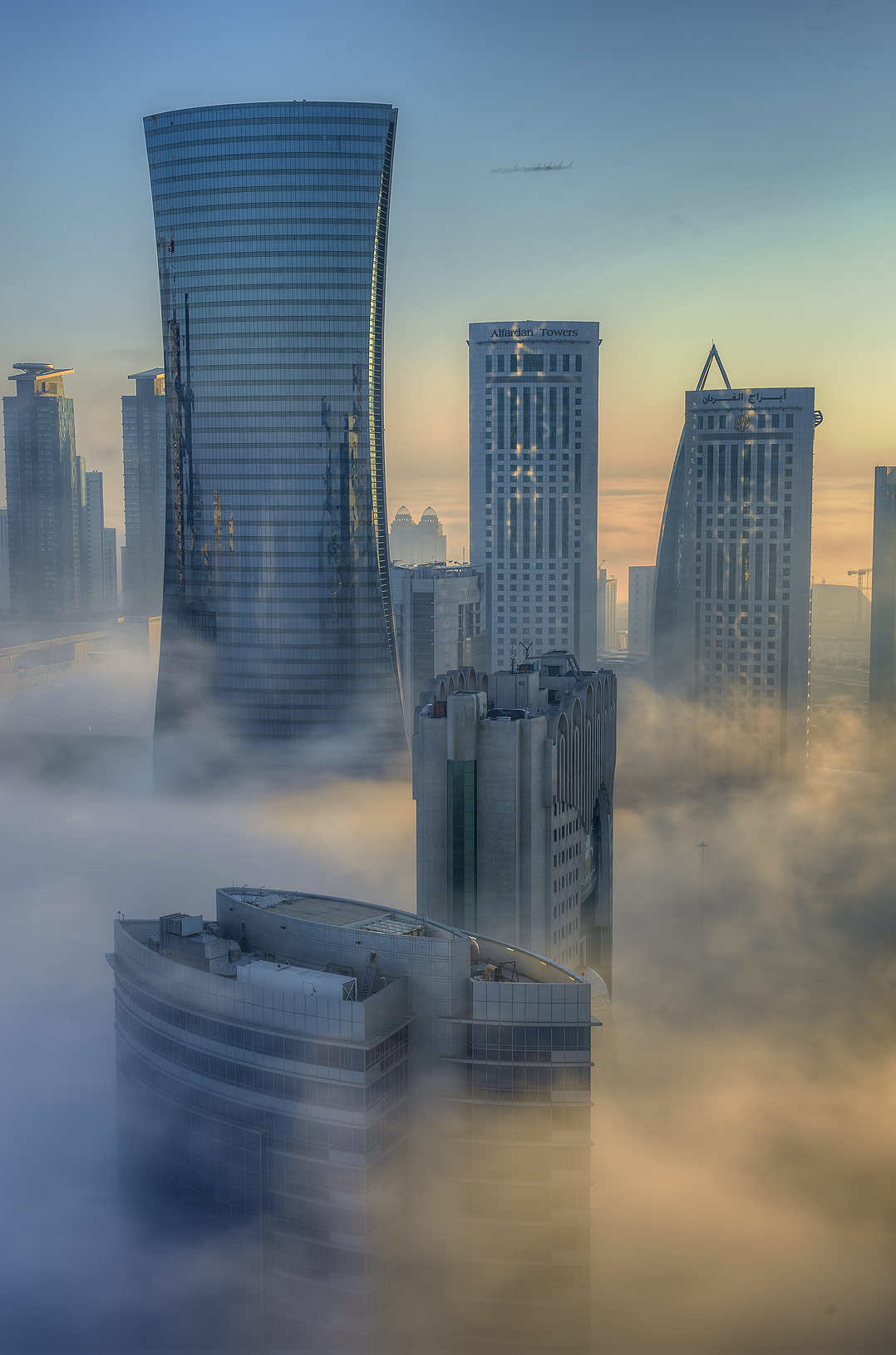 Foggy morning from a balcony of Room 1604 of Dareen Tower in West Bay. Doha, Qatar