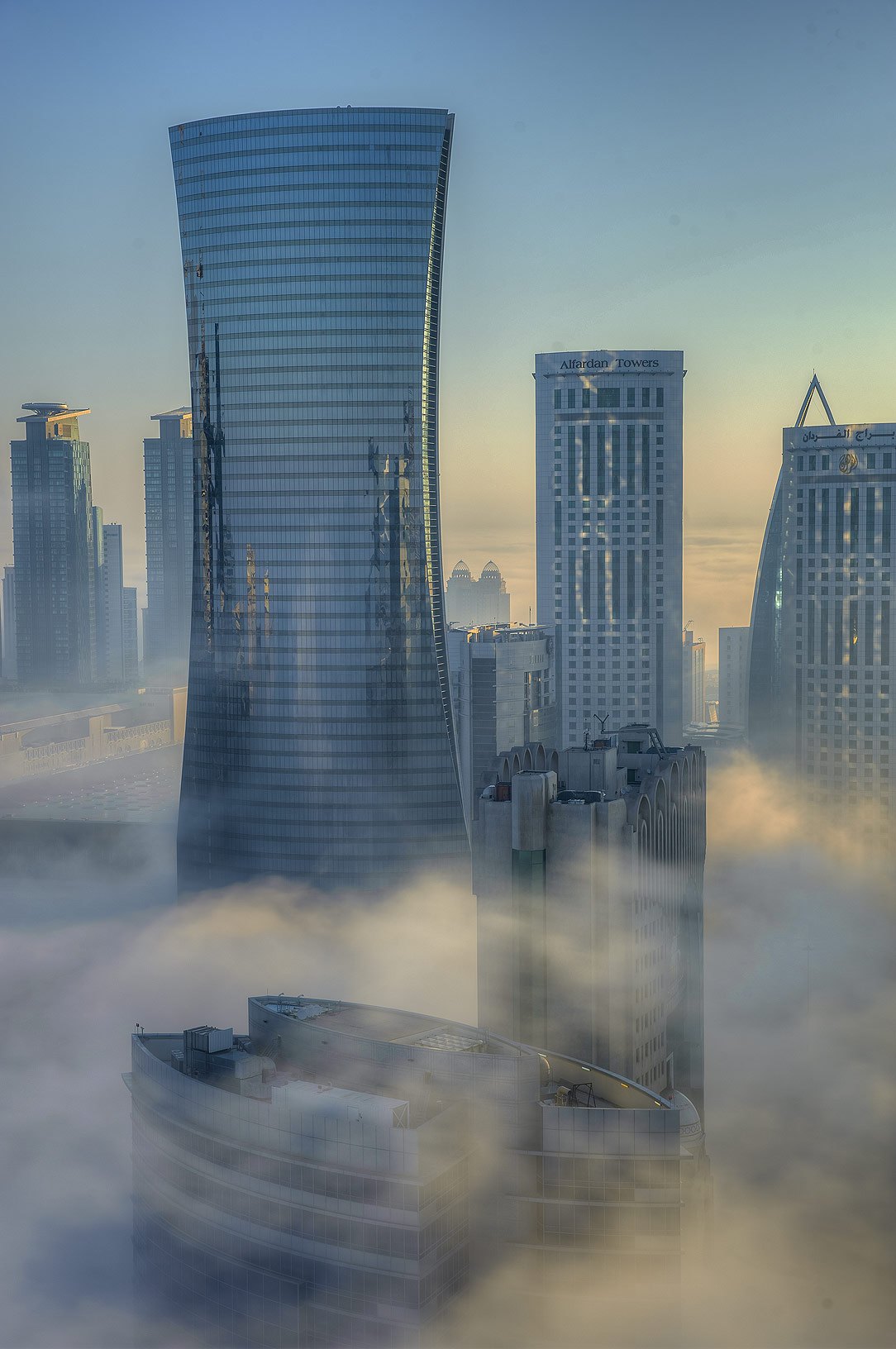 Morning fog from a balcony of Room 1604 of Dareen Tower in West Bay. Doha, Qatar