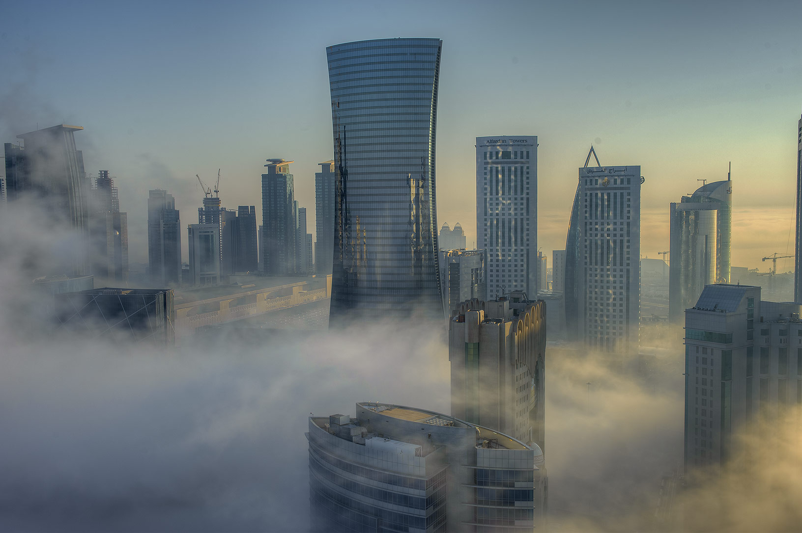 Patchy fog from a balcony of Room 1604 of Dareen Tower in West Bay. Doha, Qatar
