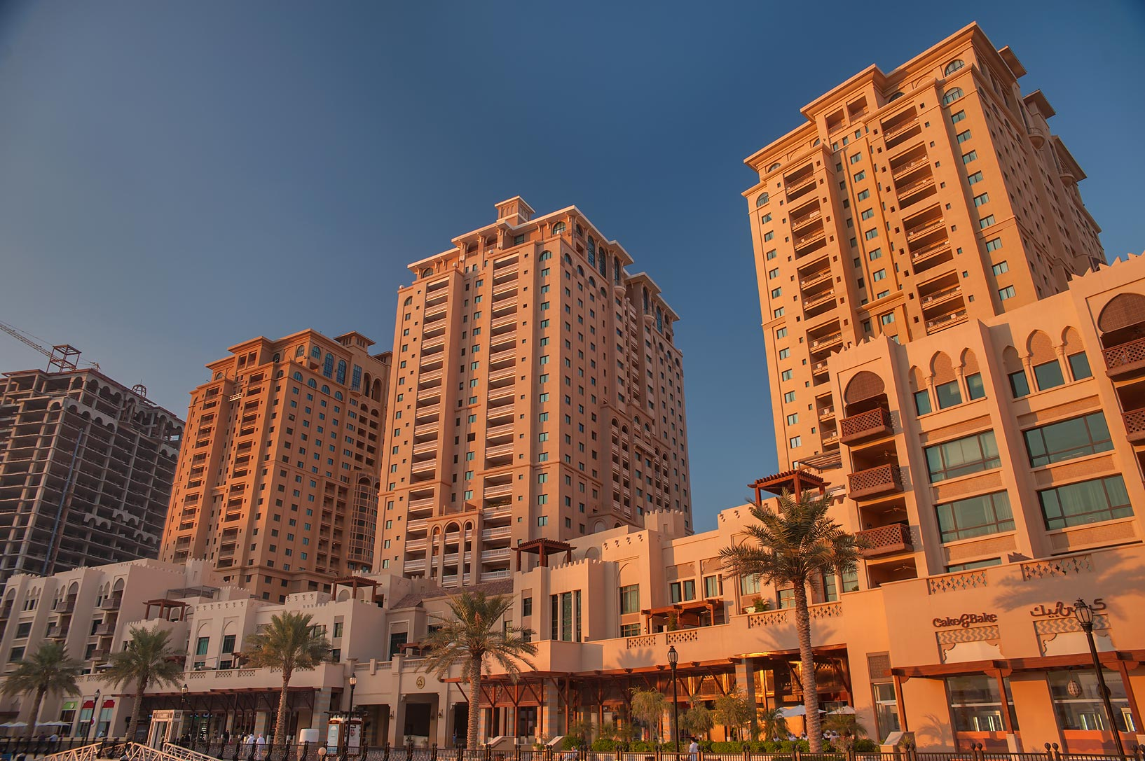 Sunset in Porto Arabia in the Pearl Qatar development. Doha, Qatar