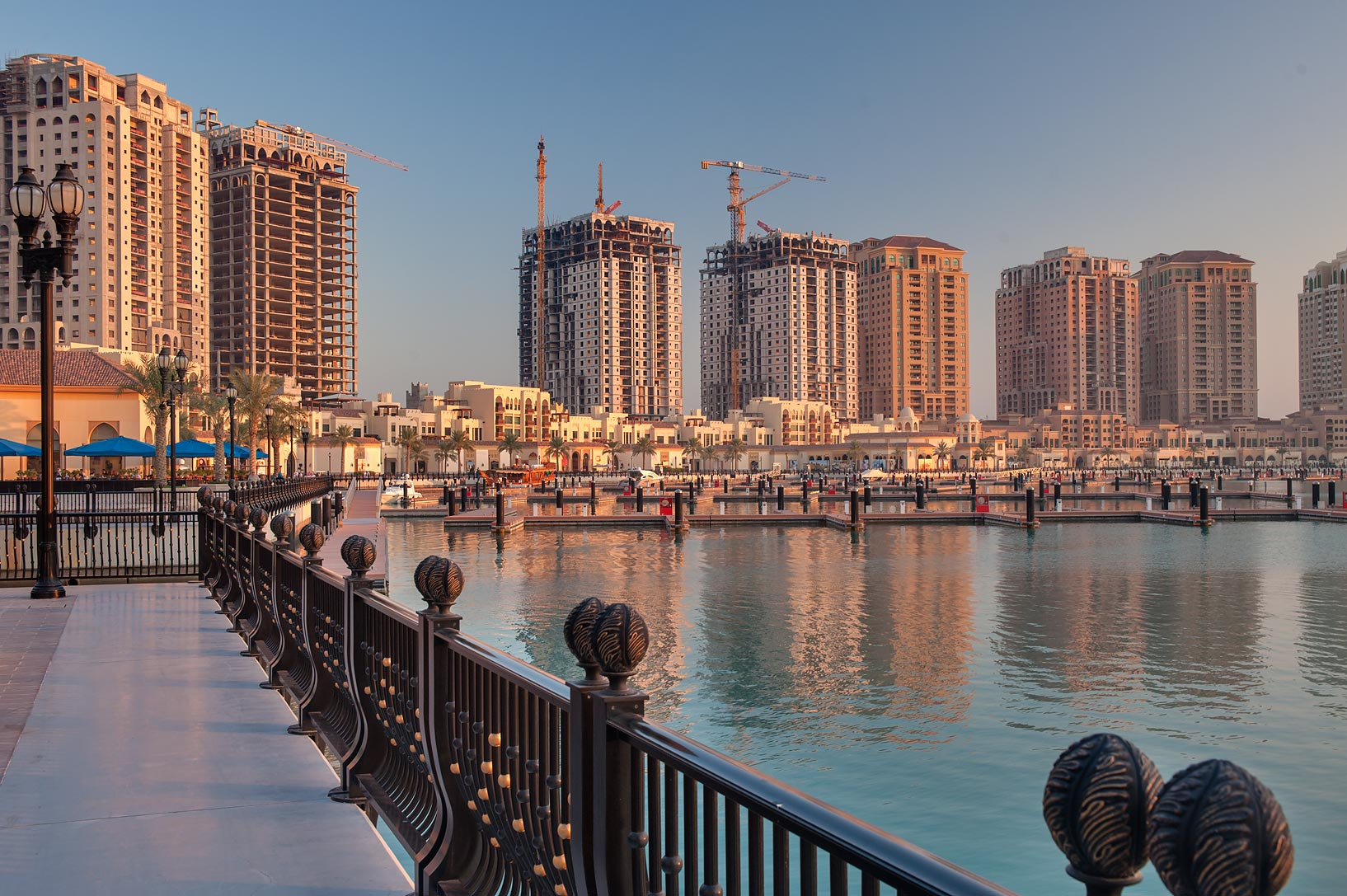 Promenade in Porto Arabia in the Pearl Qatar development. Doha, Qatar