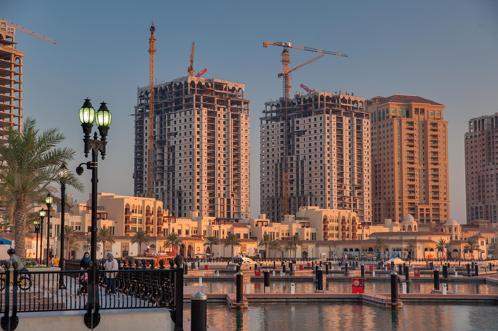 Empty towers in Porto Arabia in the Pearl Qatar development. Doha, Qatar
