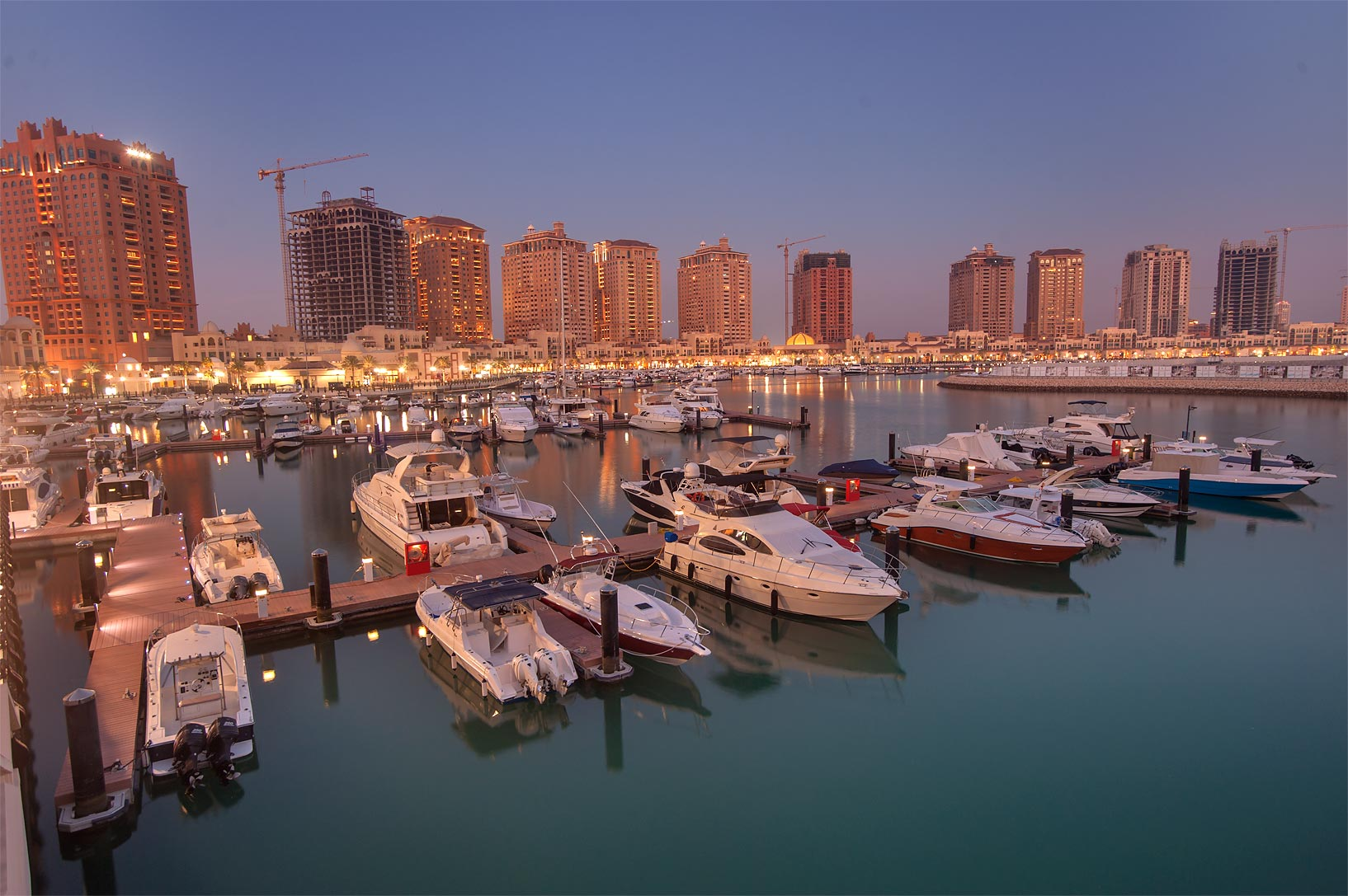 Marina with yachts on Pier E in Porto Arabia in the Pearl Qatar development. Doha, Qatar