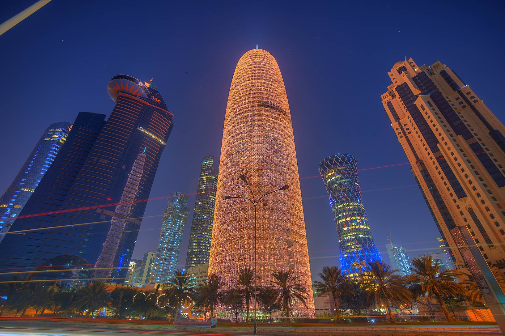 View of Burj Qatar Tower in West Bay from Corniche promenade. Doha, Qatar
