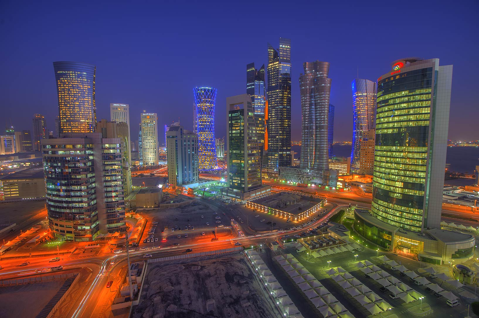 Lights of West Bay from Room 1604 of Dareen Tower. Doha, Qatar