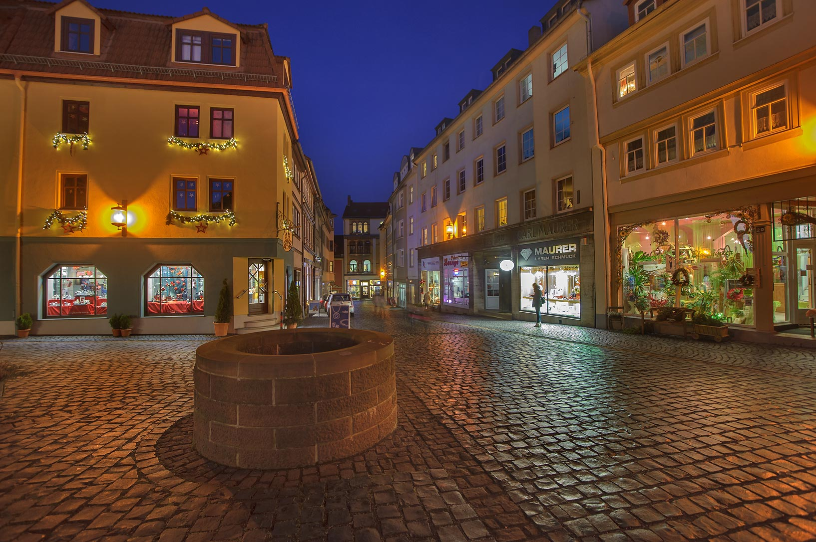 Stone pavement in old city. Gotha, Germany