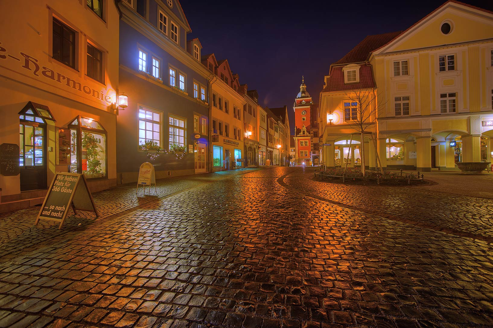 Stone pavement on a square in old city. Gotha, Germany