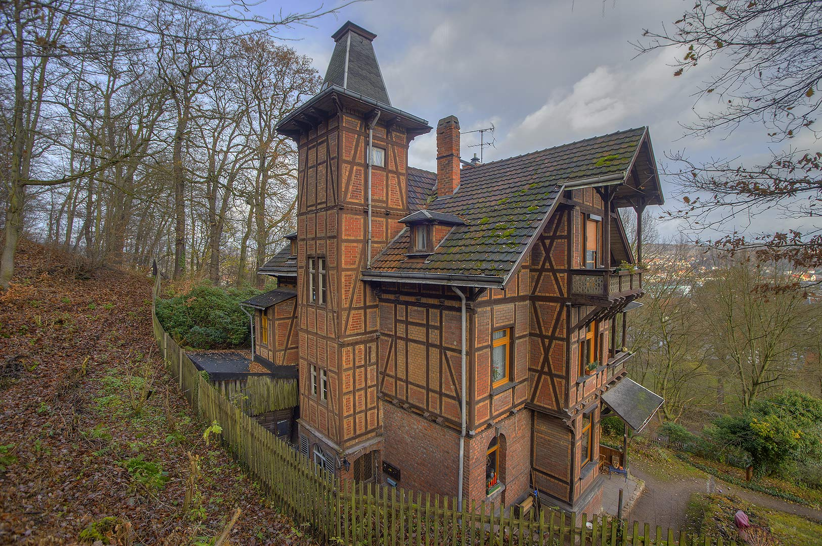 House on a slope of a hill. Eisenach, Germany
