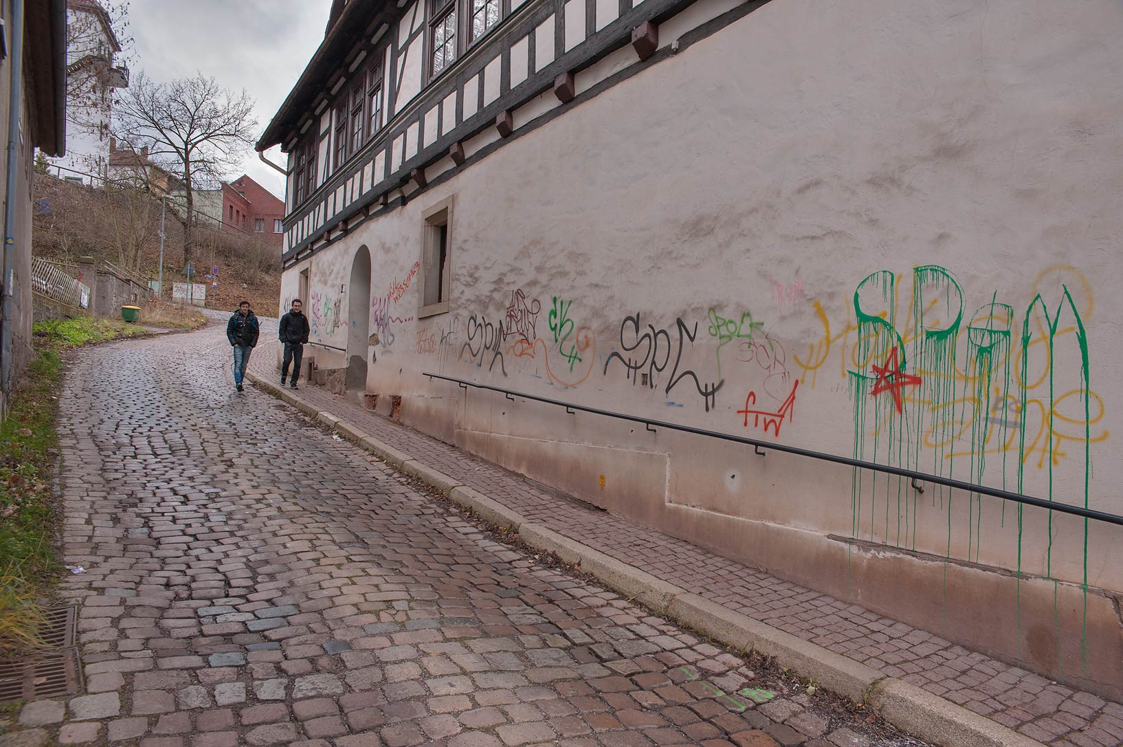 Street in Old city paved by stone. Eisenach, Germany