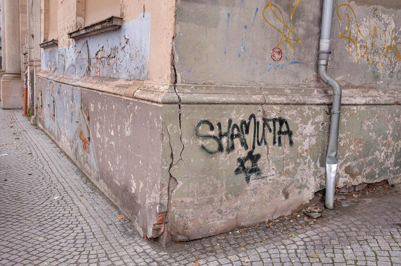 Graffiti on old houses. Eisenach, Germany