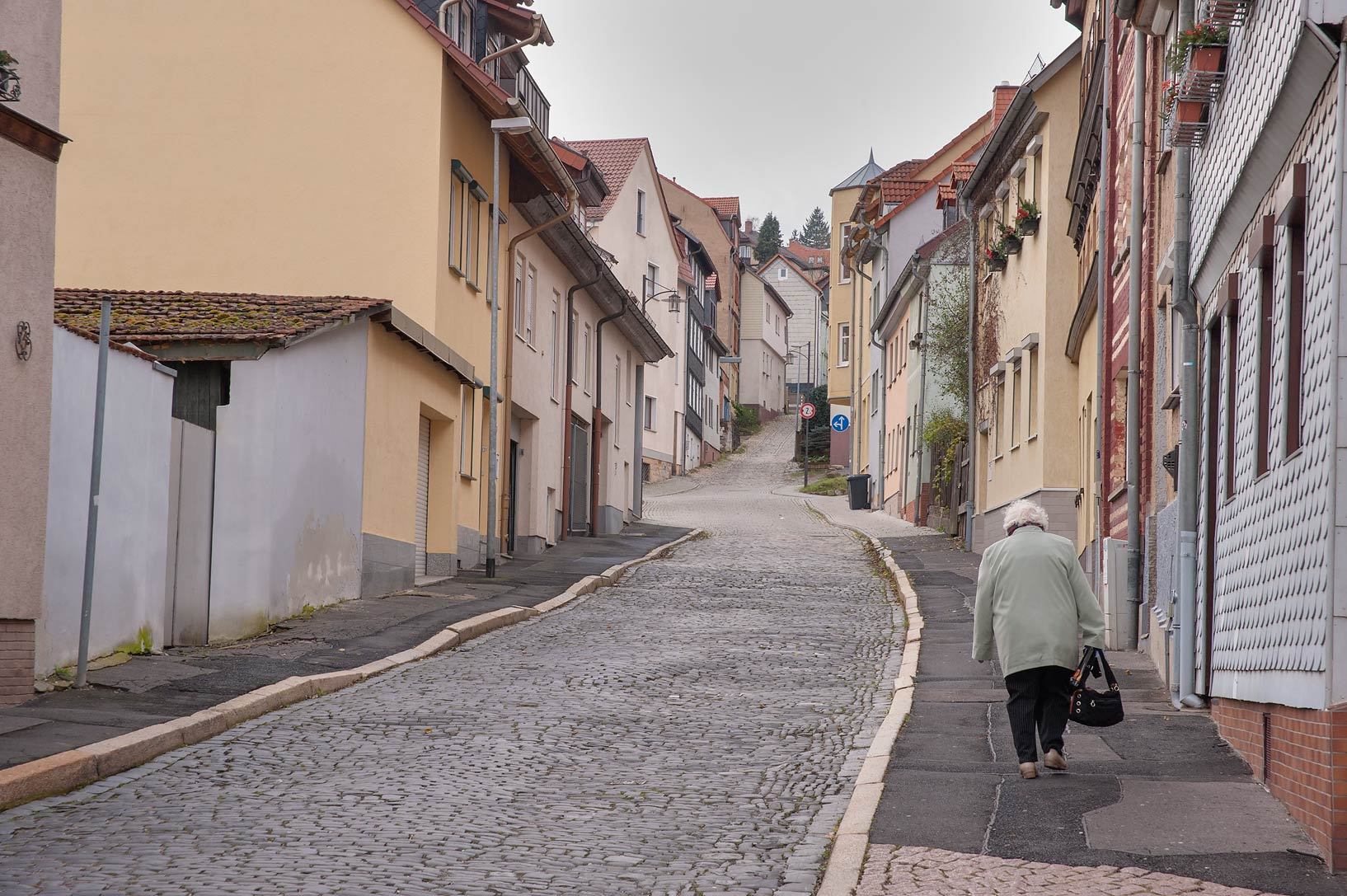 Street on a hill slope. Eisenach, Germany
