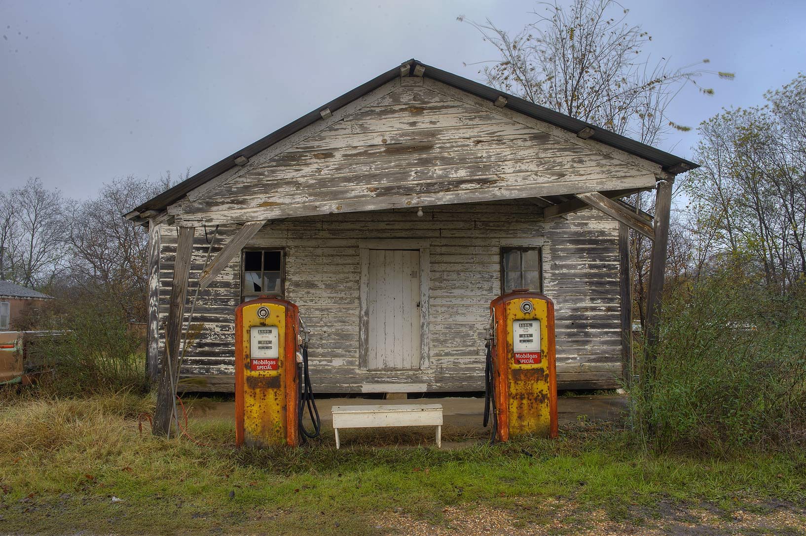 Vintage gas station near road FM 39. North Zulch, Texas