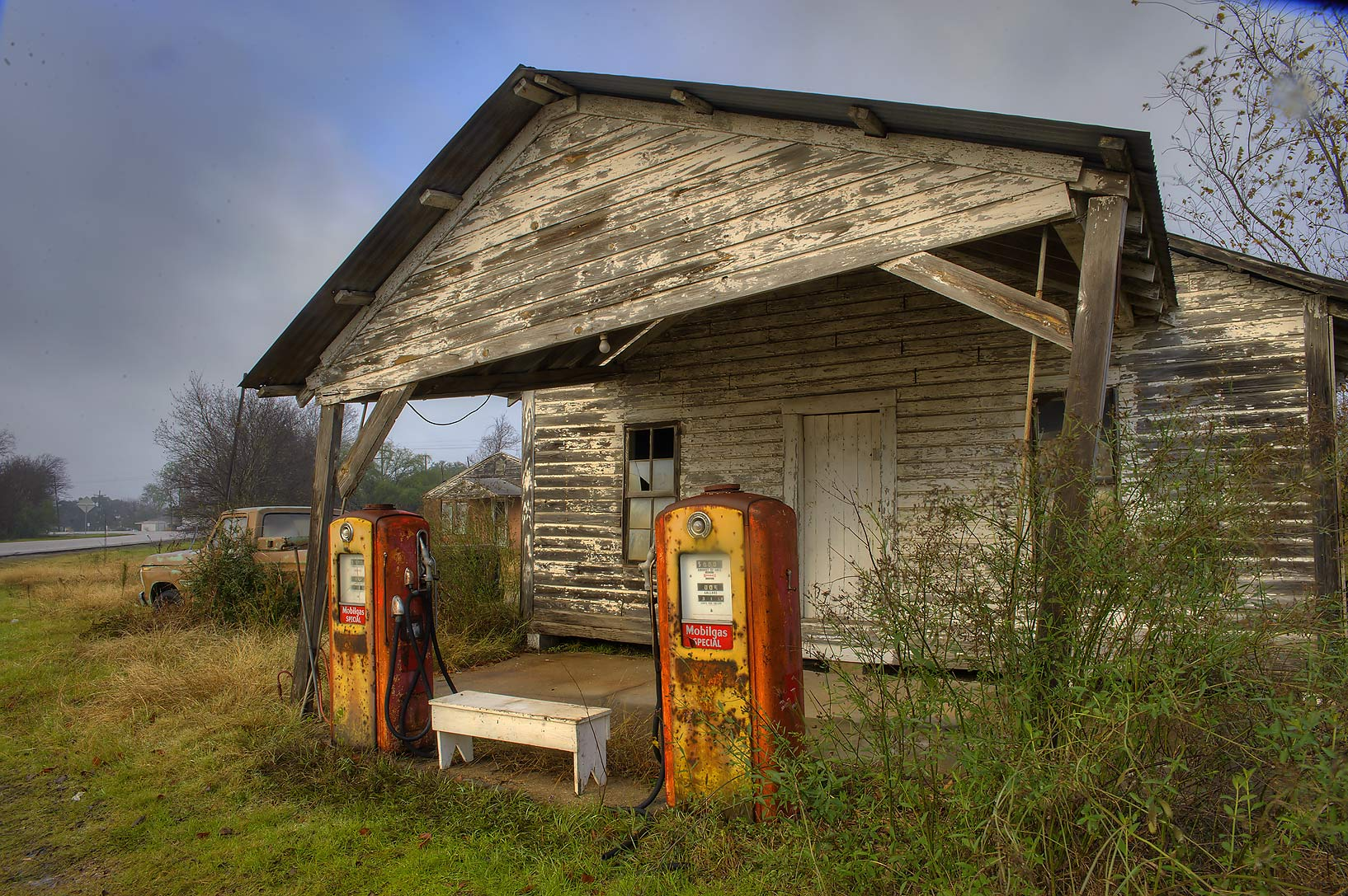 Vintage gas station near road FM 39 at sunrise. North Zulch, Texas