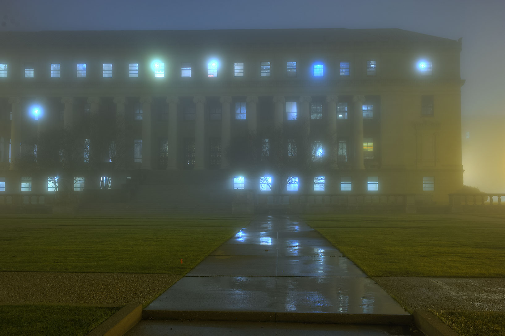 Administration Building in fog on campus of Texas...M University. College Station, Texas