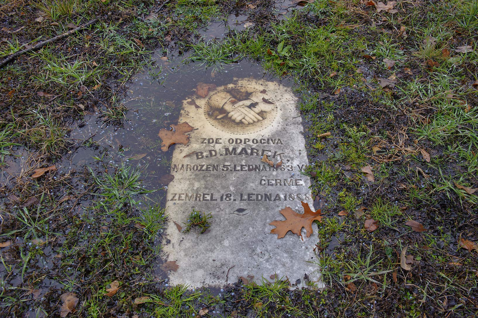 Tomb of B. D. Marek in College Station Cemetery at rain. College Station, Texas