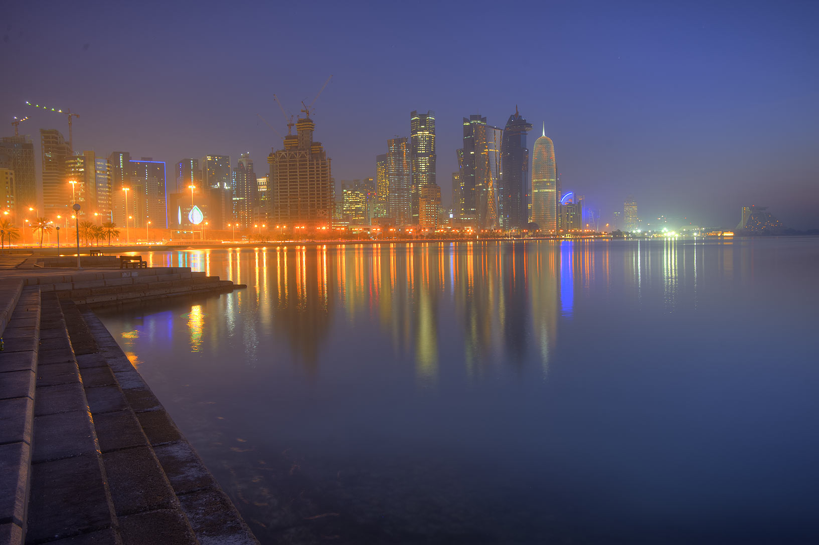 West Bay from Corniche promenade near Balhambar Restaurant. Doha, Qatar