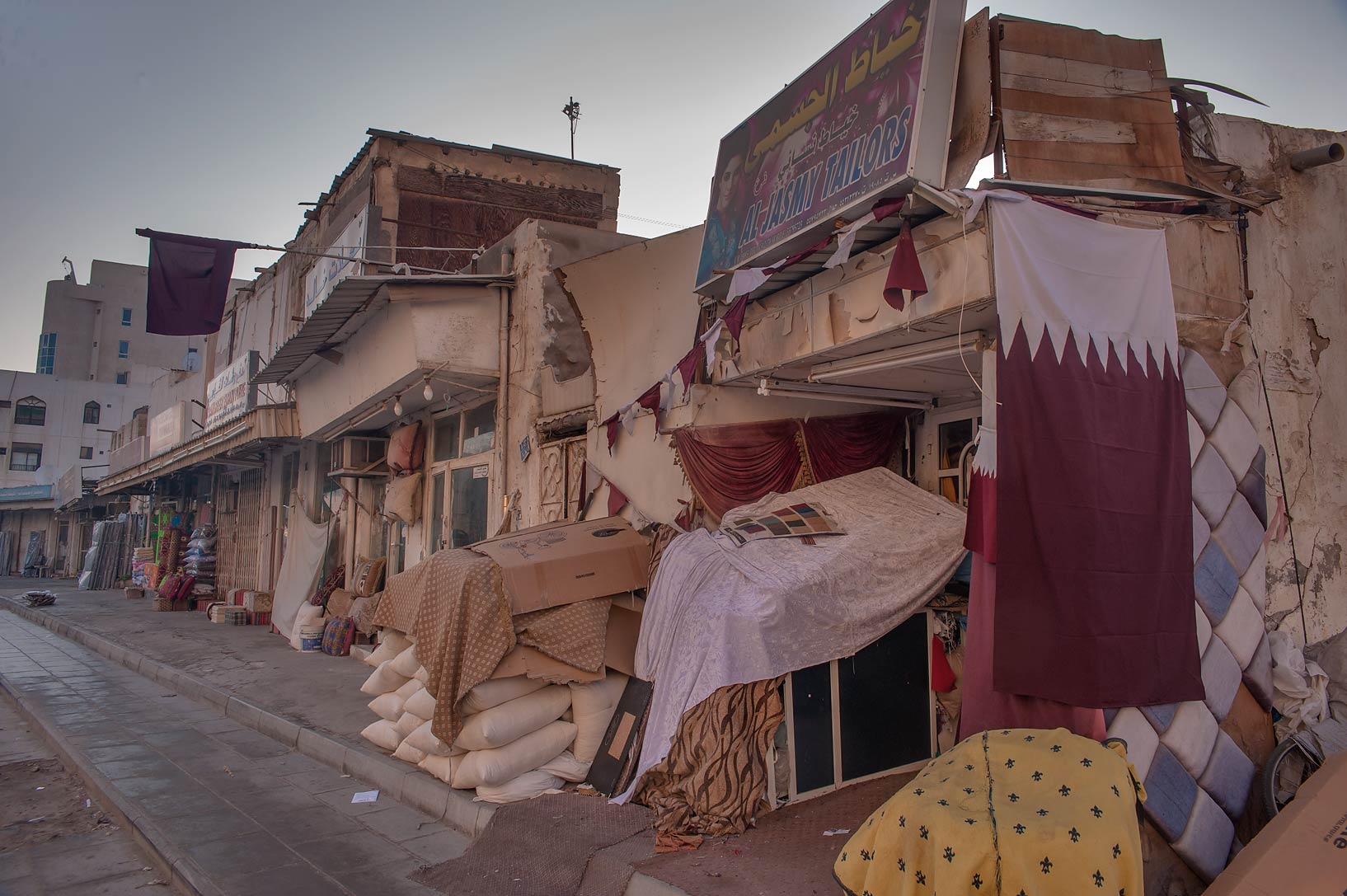 Mattress shops on Barahat Al Jufairi St., opposite to Al Najada. Doha, Qatar