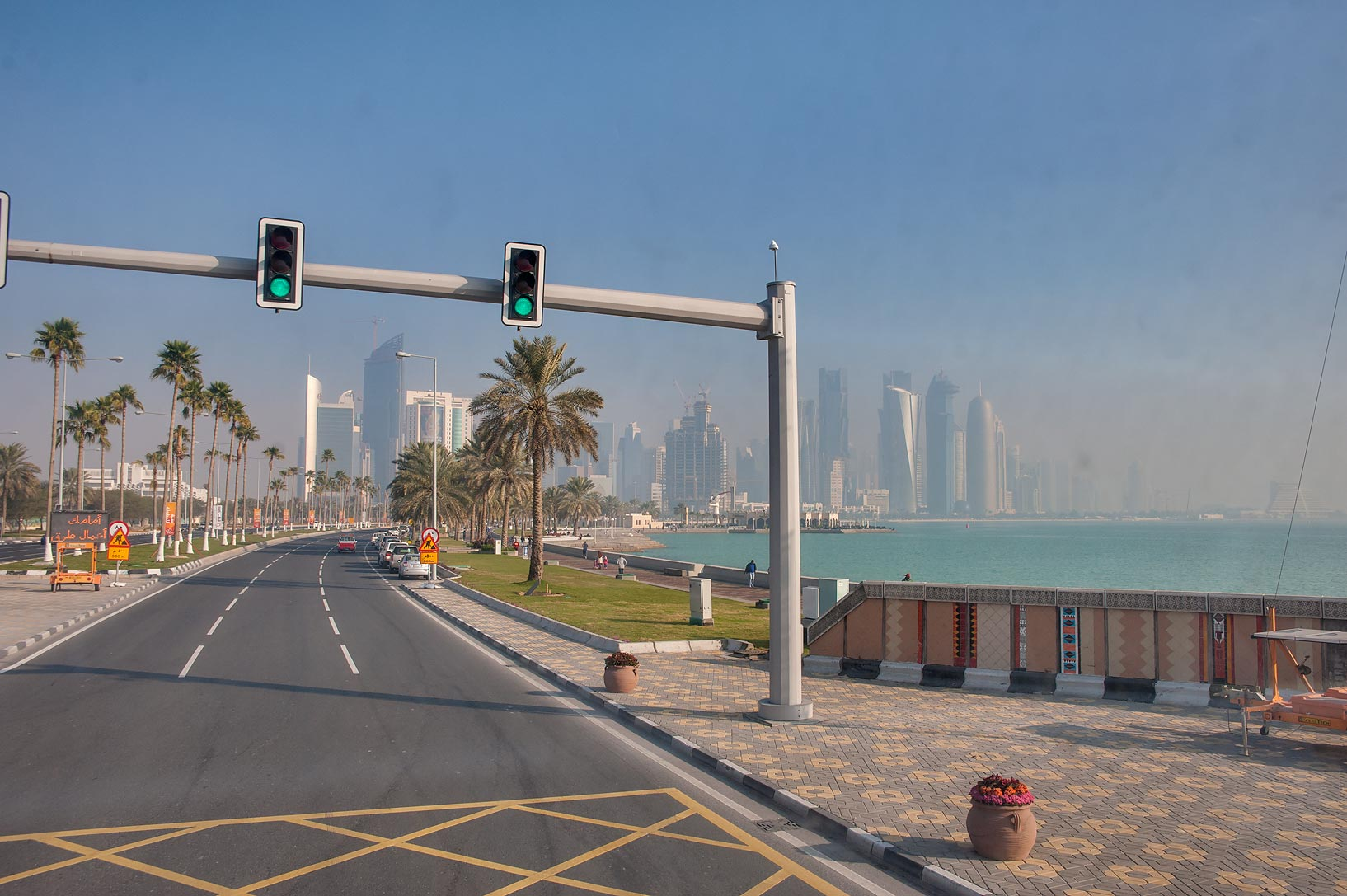 Corniche promenade, view from a window of a bus No. 76. Doha, Qatar