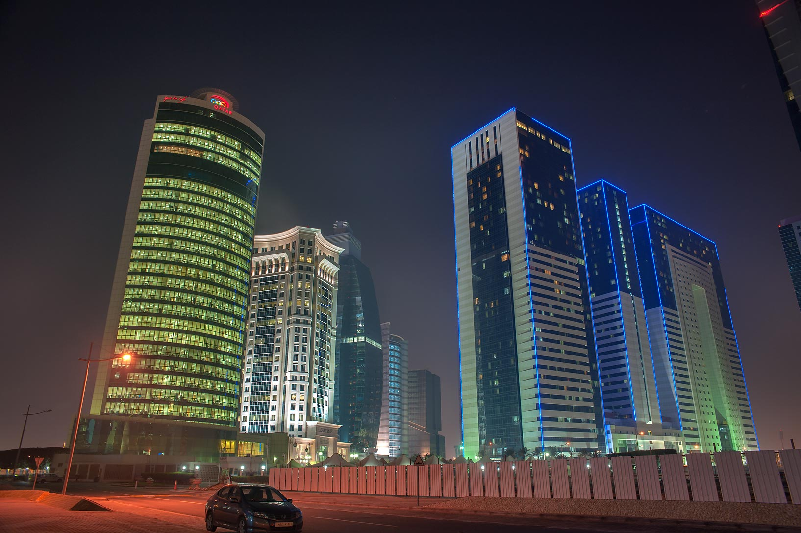 Olympic and Ezdan towers in West Bay. Doha, Qatar