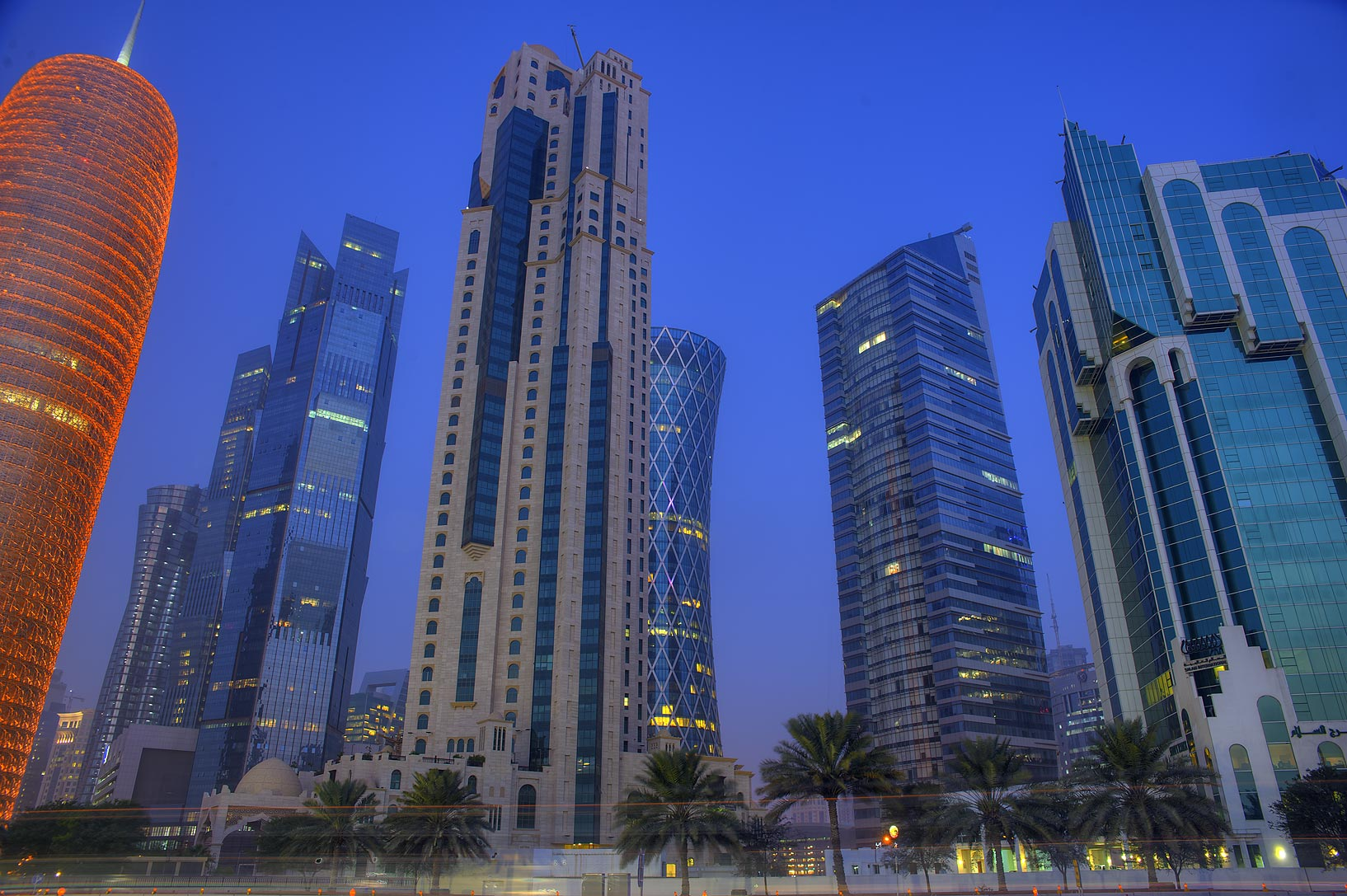 West Bay towers from on Corniche at morning. Doha, Qatar