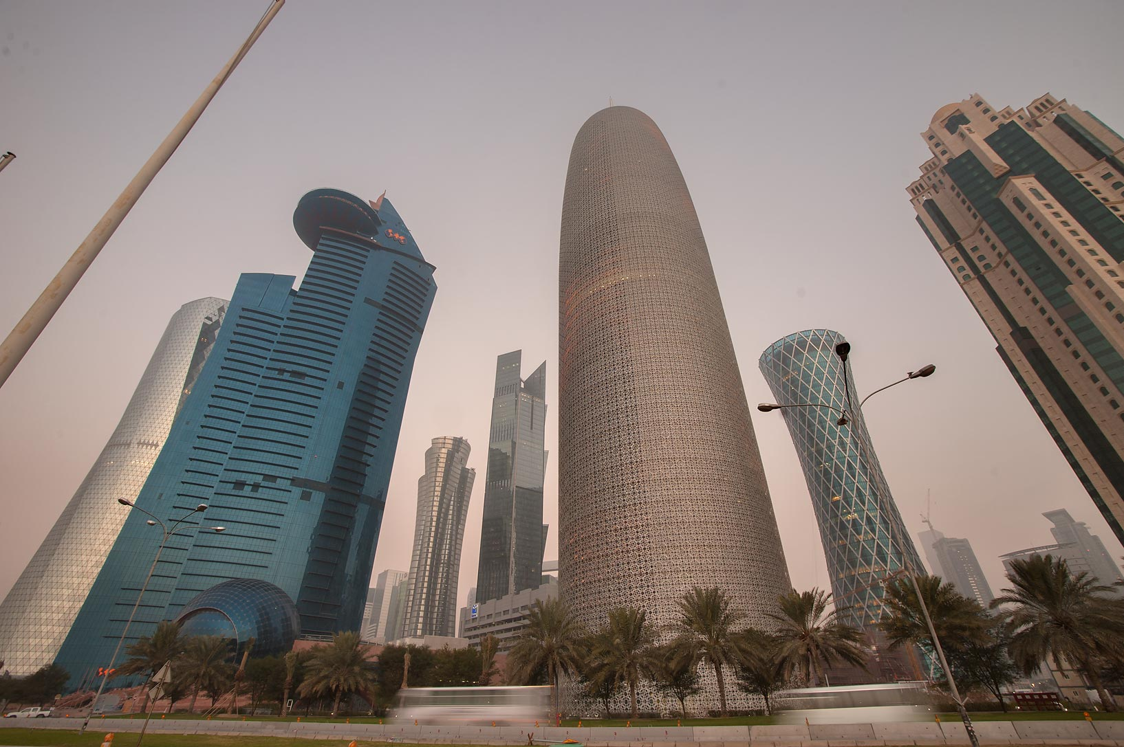 Area of Burj Qatar Tower on West Bay from on Corniche at morning. Doha, Qatar