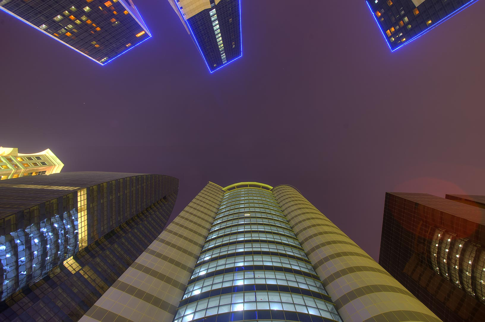 6 towers at Al Betra St. in West Bay, looking up. Doha, Qatar