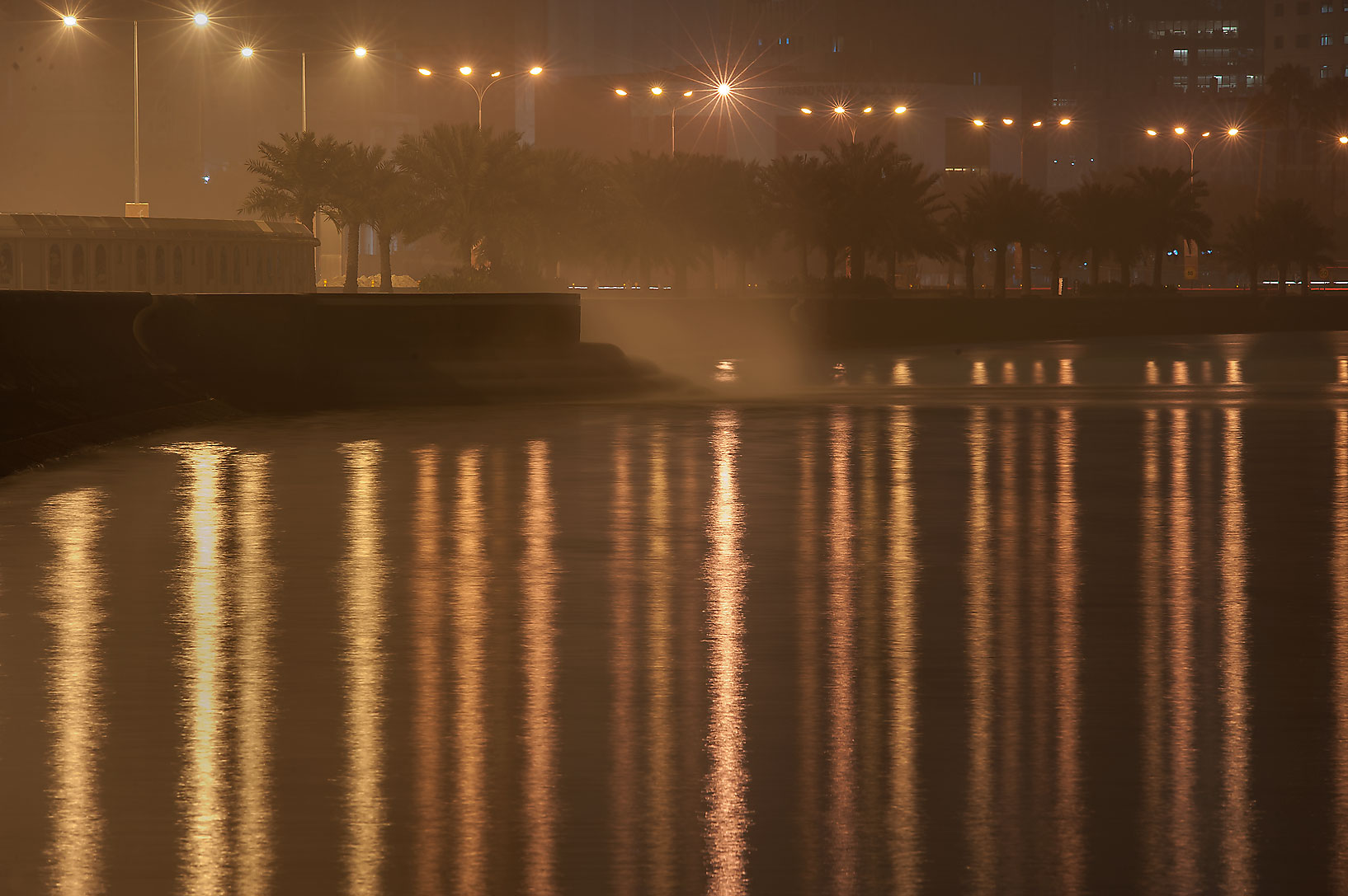 Sewage disposal at morning, on Corniche Promenade. Doha, Qatar