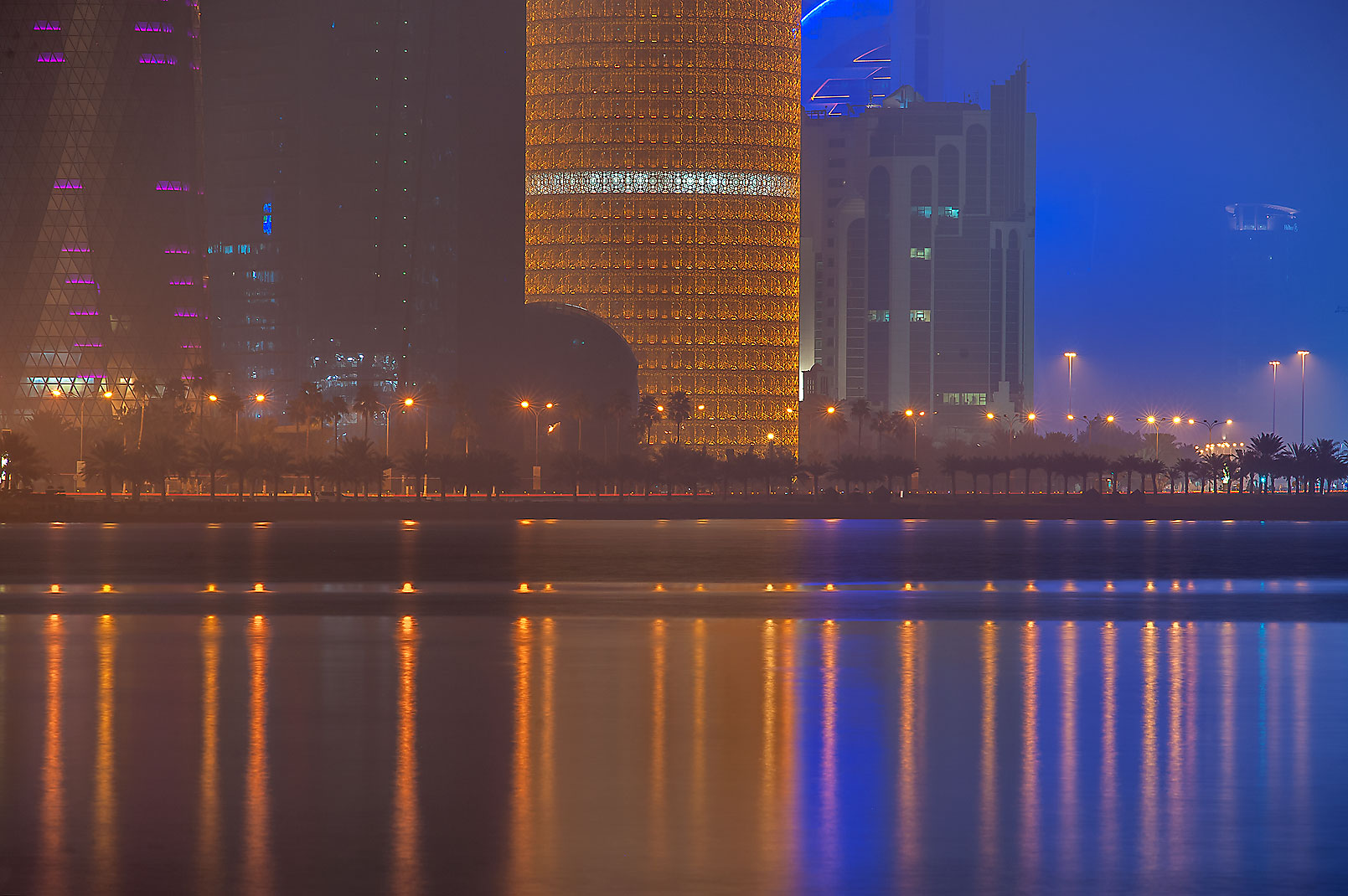 Lights of West Bay at morning, on Corniche Promenade. Doha, Qatar