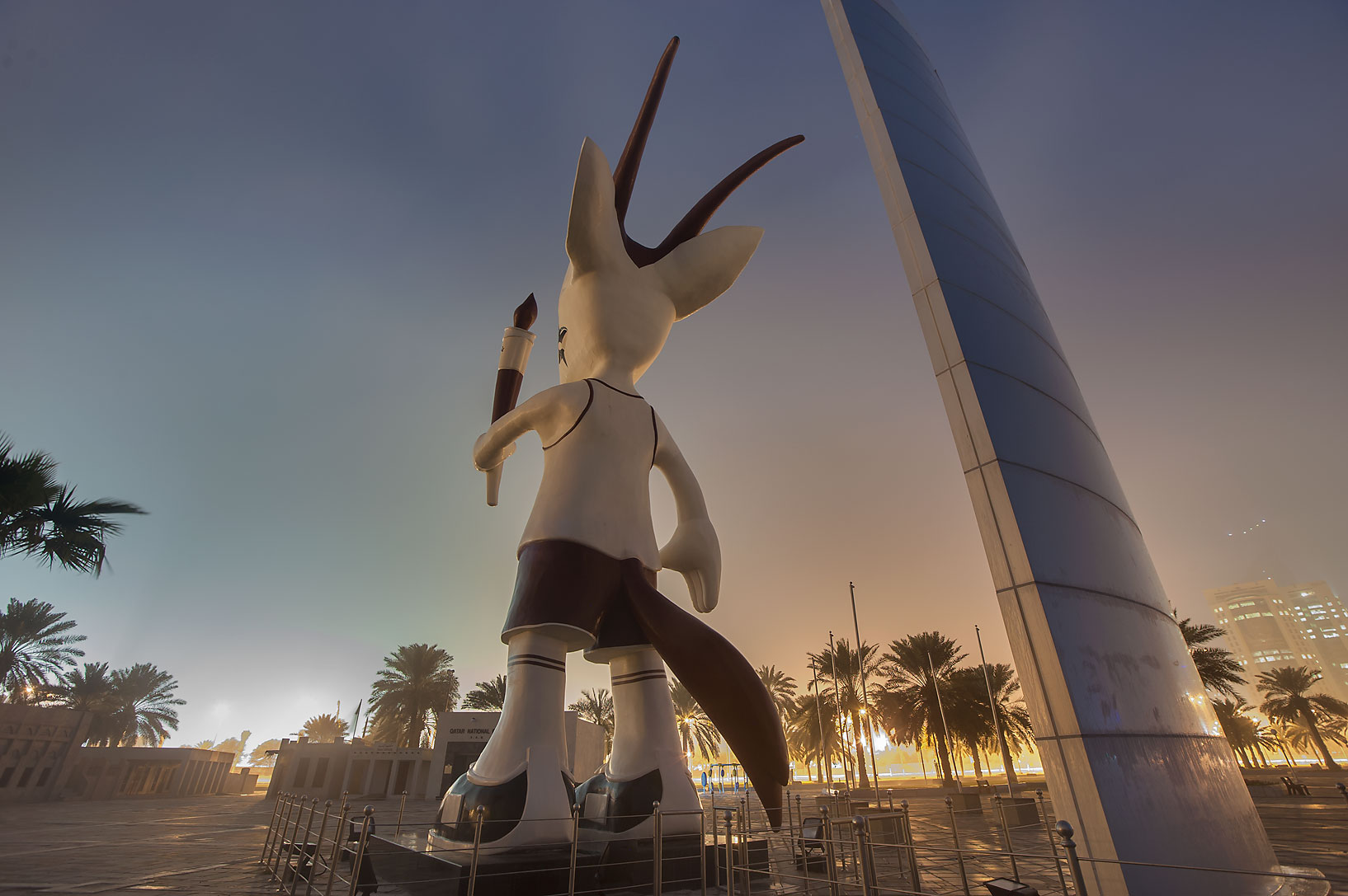 Dorsal view of Orry the Oryx (mascot of the 15th...on Corniche Promenade. Doha, Qatar