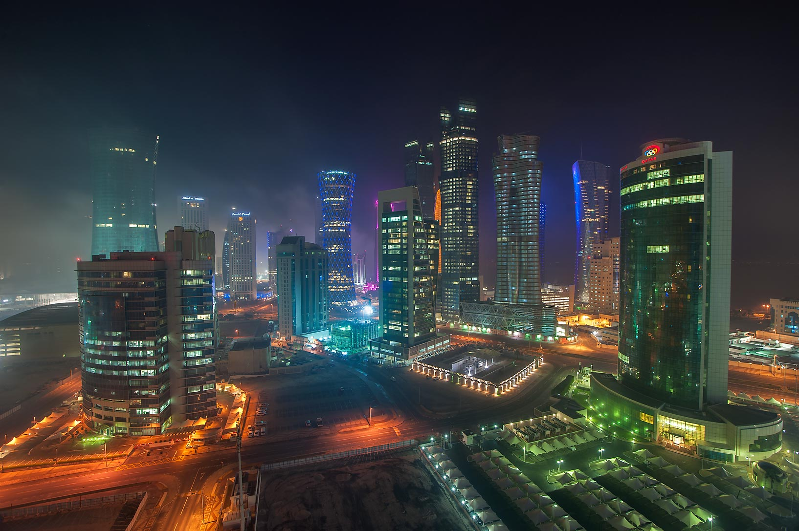 Lights of West Bay from Room 1703 of Dareen Tower. Doha, Qatar