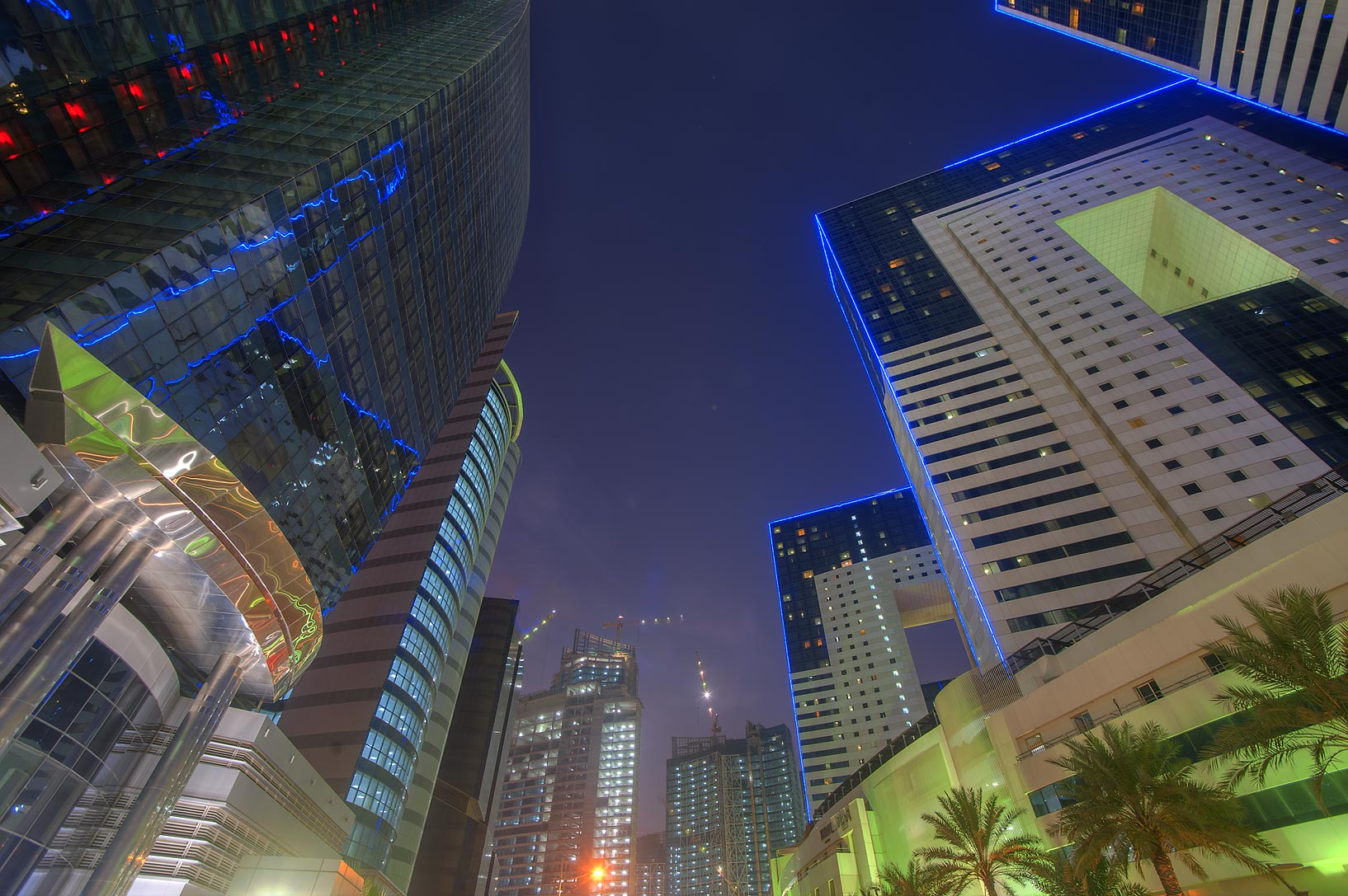 Al Betra St. in West Bay at evening. Doha, Qatar