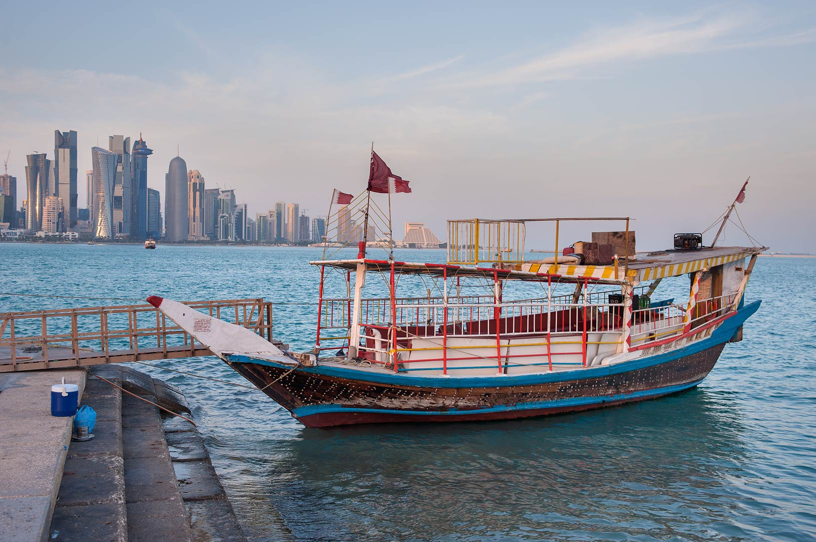 Dhow boat near Corniche, with West Bay in background. Doha, Qatar