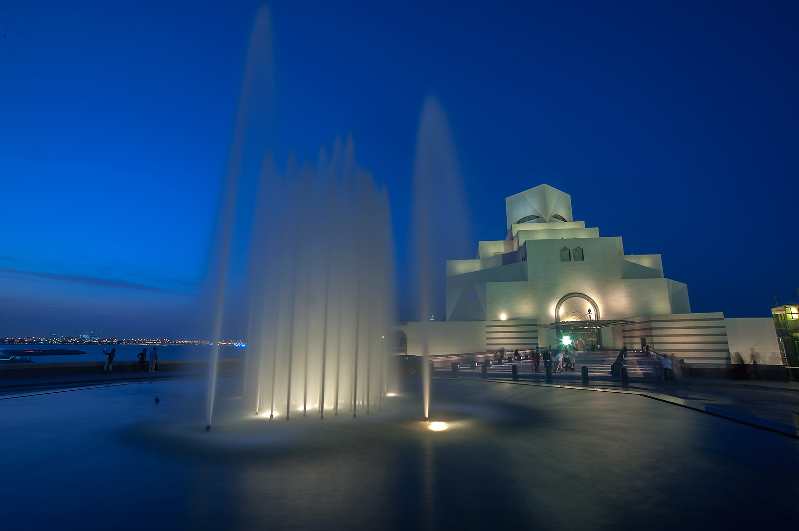 Water fountain in front of Museum of Islamic Art. Doha, Qatar