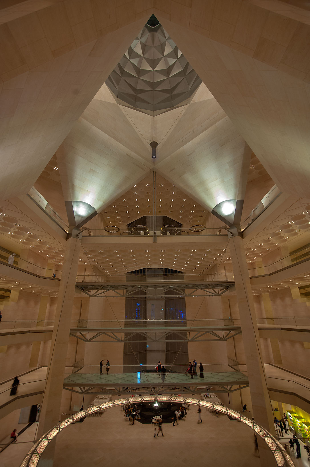 Lobby of Museum of Islamic Art, view from 3-th floor. Doha, Qatar