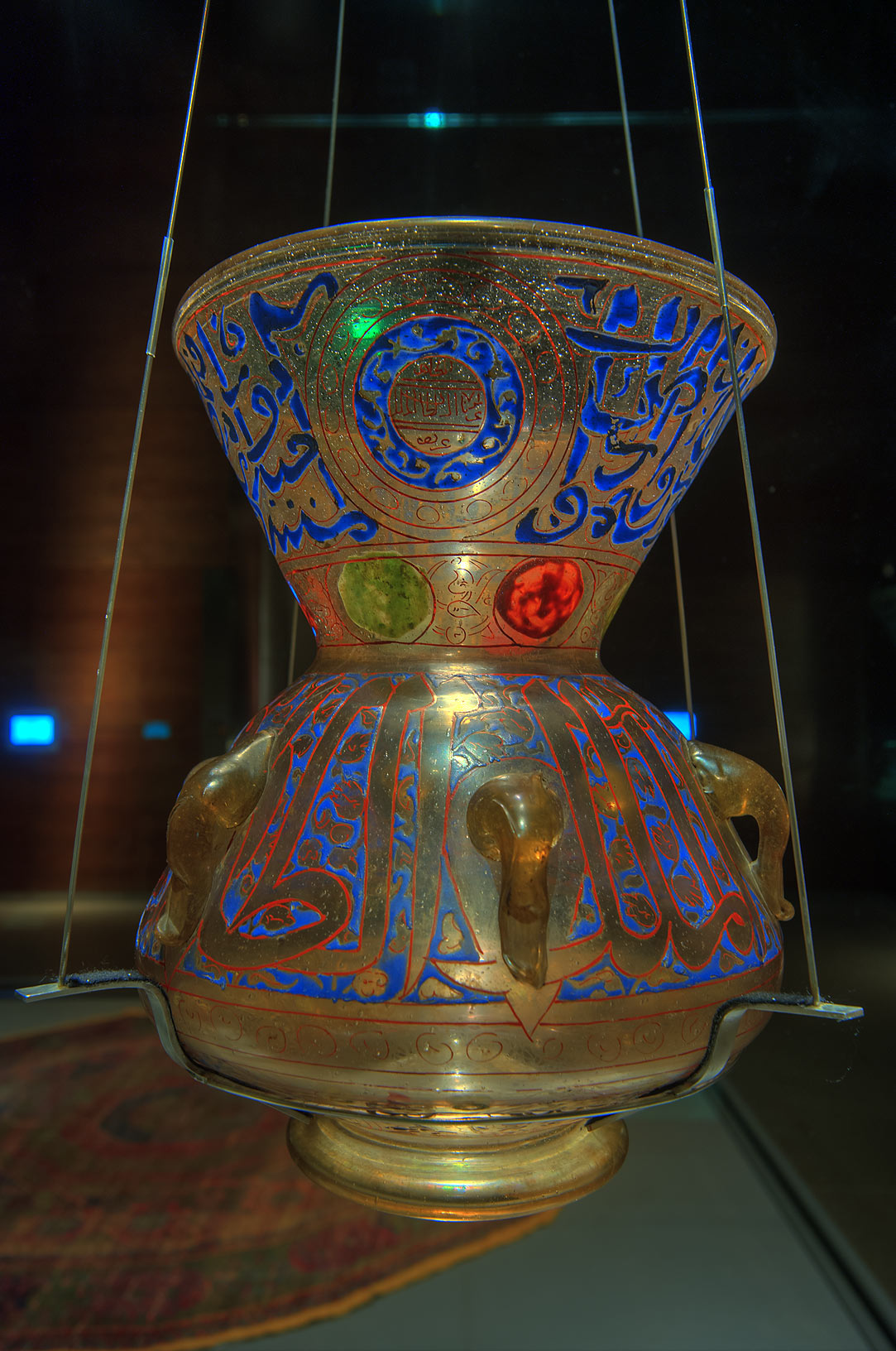 Decorated Egyptian mosque lamp of Museum of Islamic Art. Doha, Qatar