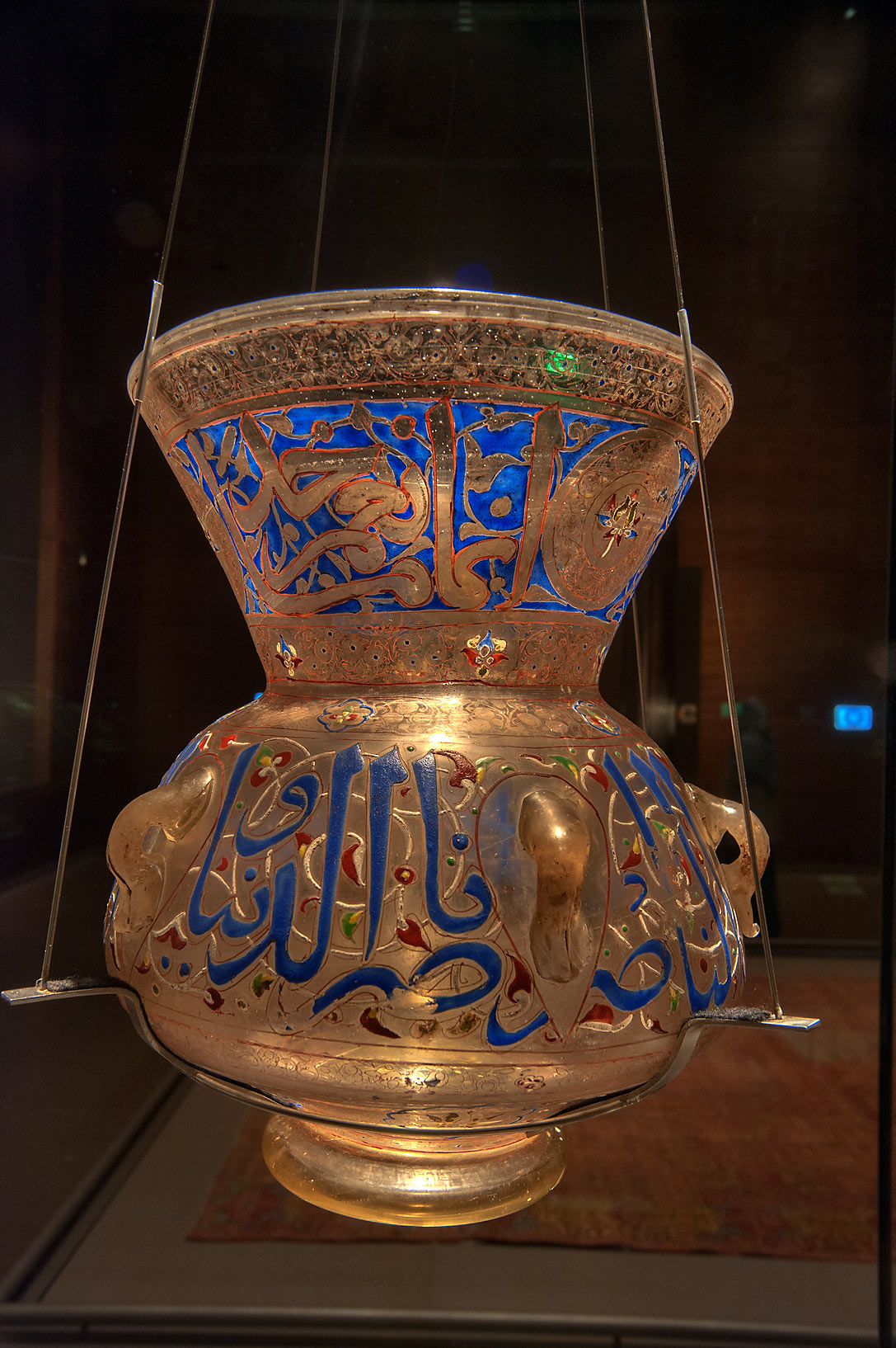 Egyptian mosque lamp (glass, vitreous enamel) on...in Museum of Islamic Art. Doha, Qatar