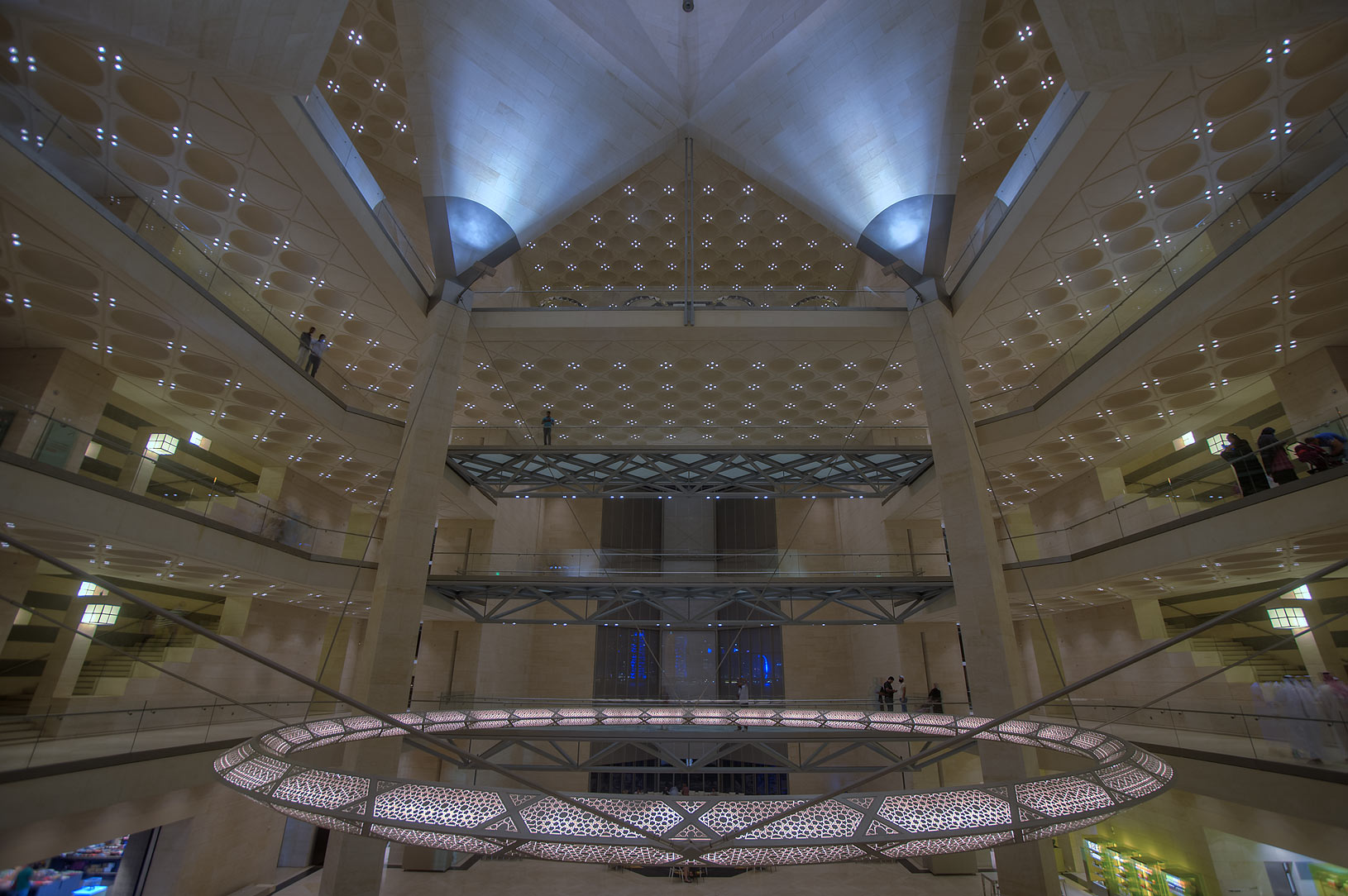 Atrium of Museum of Islamic Art, view from 2-th floor. Doha, Qatar