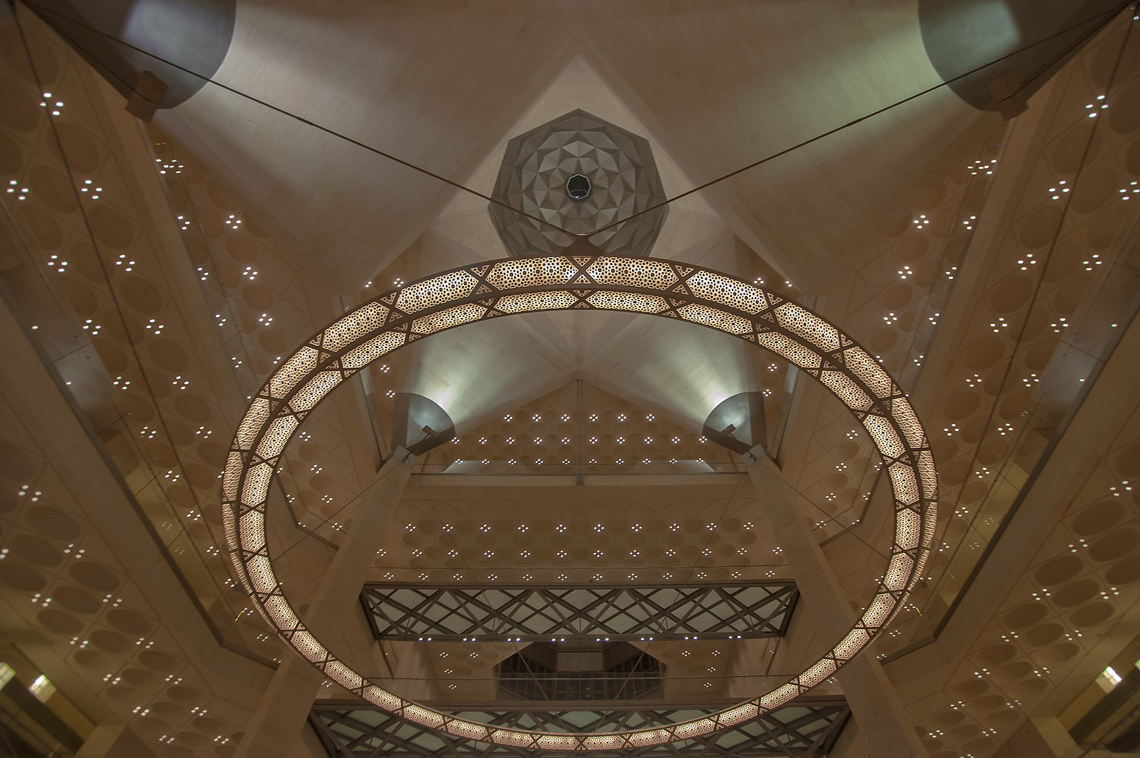 Geometrical patterns of ceiling of Museum of Islamic Art. Doha, Qatar