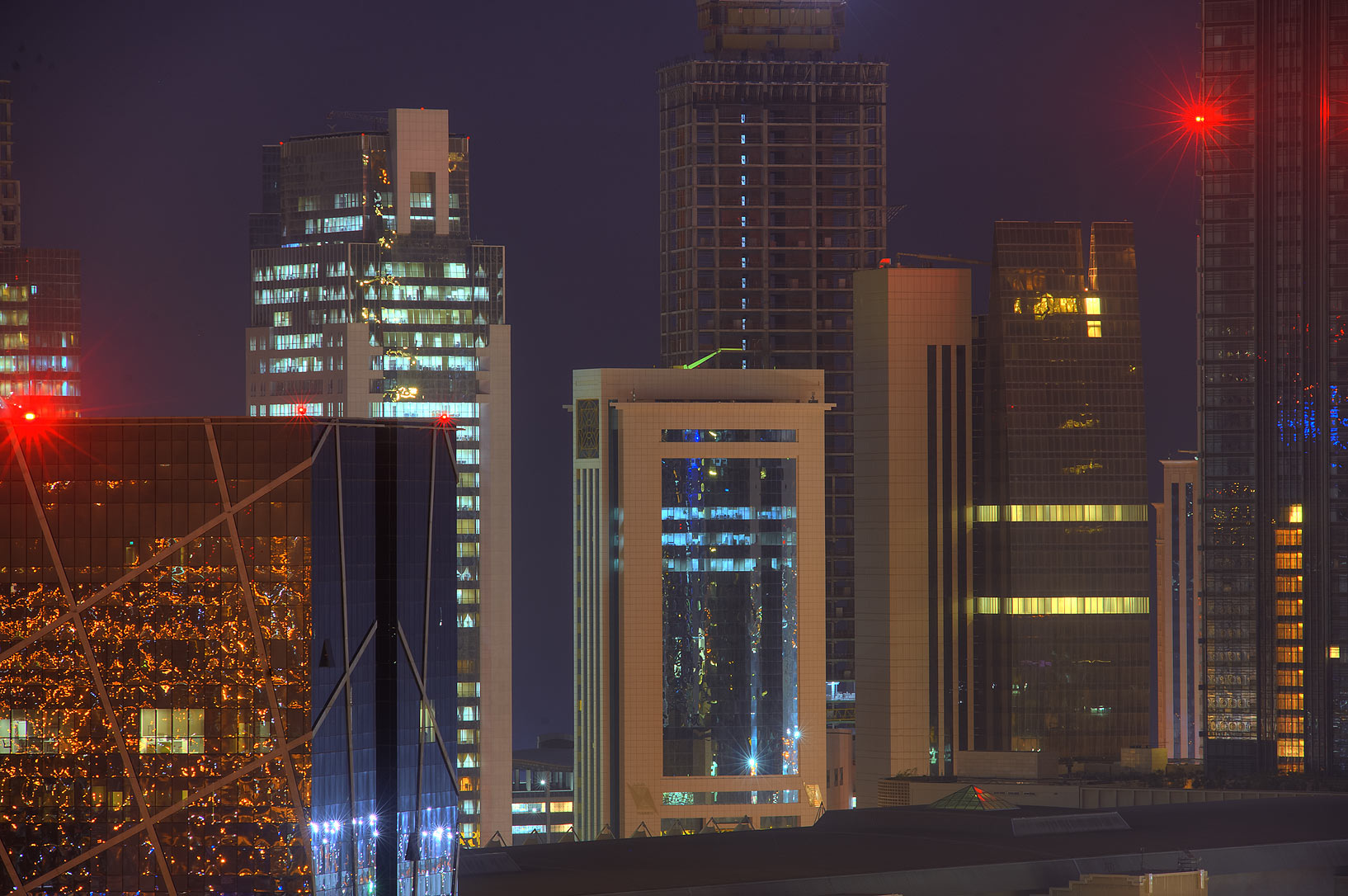 Area of City Center in West Bay from a balcony of Room 1703 of Dareen Tower. Doha, Qatar