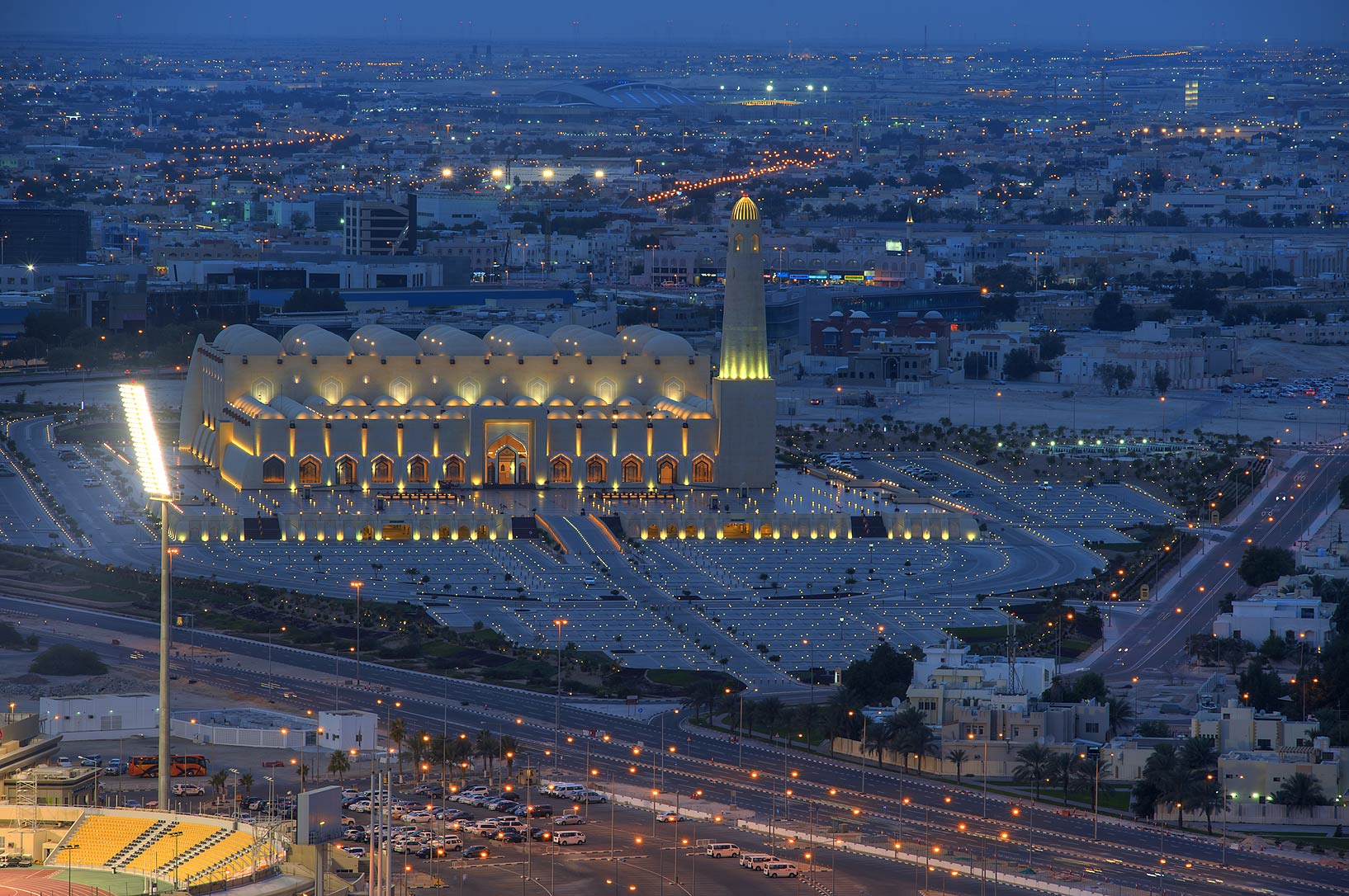 View of State Mosque (Sheikh Muhammad Ibn Abdul...Dareen Tower in West Bay. Doha, Qatar