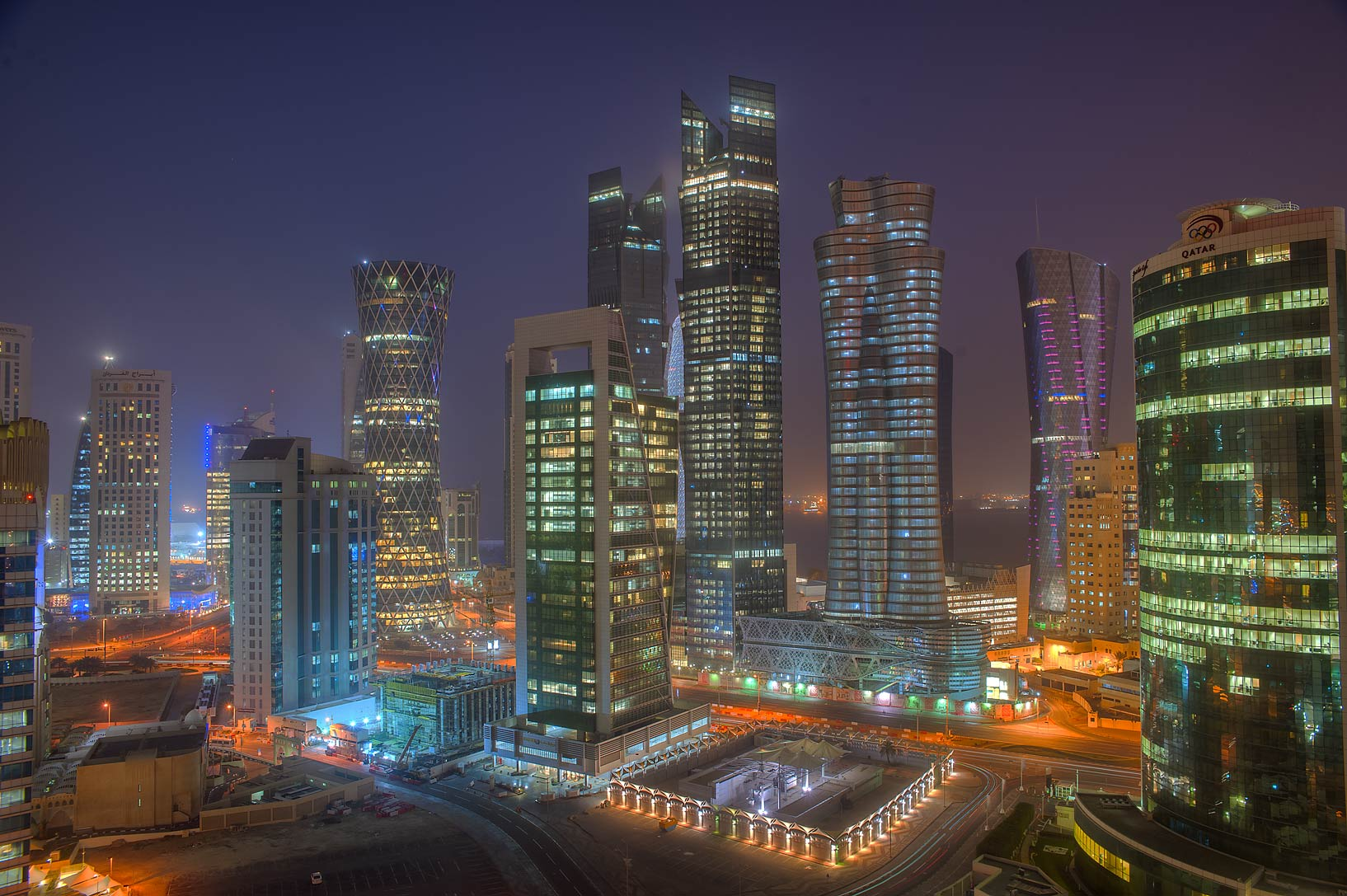 Lights of West Bay from a balcony of Room 1703 of Dareen Tower. Doha, Qatar