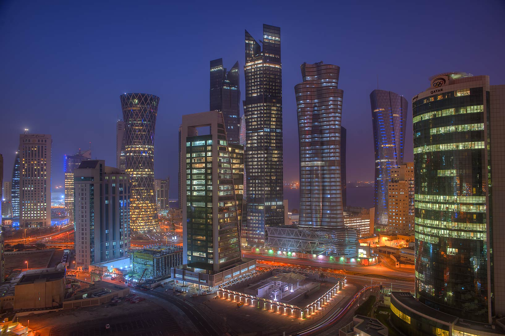 West Bay in morning dusk from a balcony of Room 1703 of Dareen Tower. Doha, Qatar