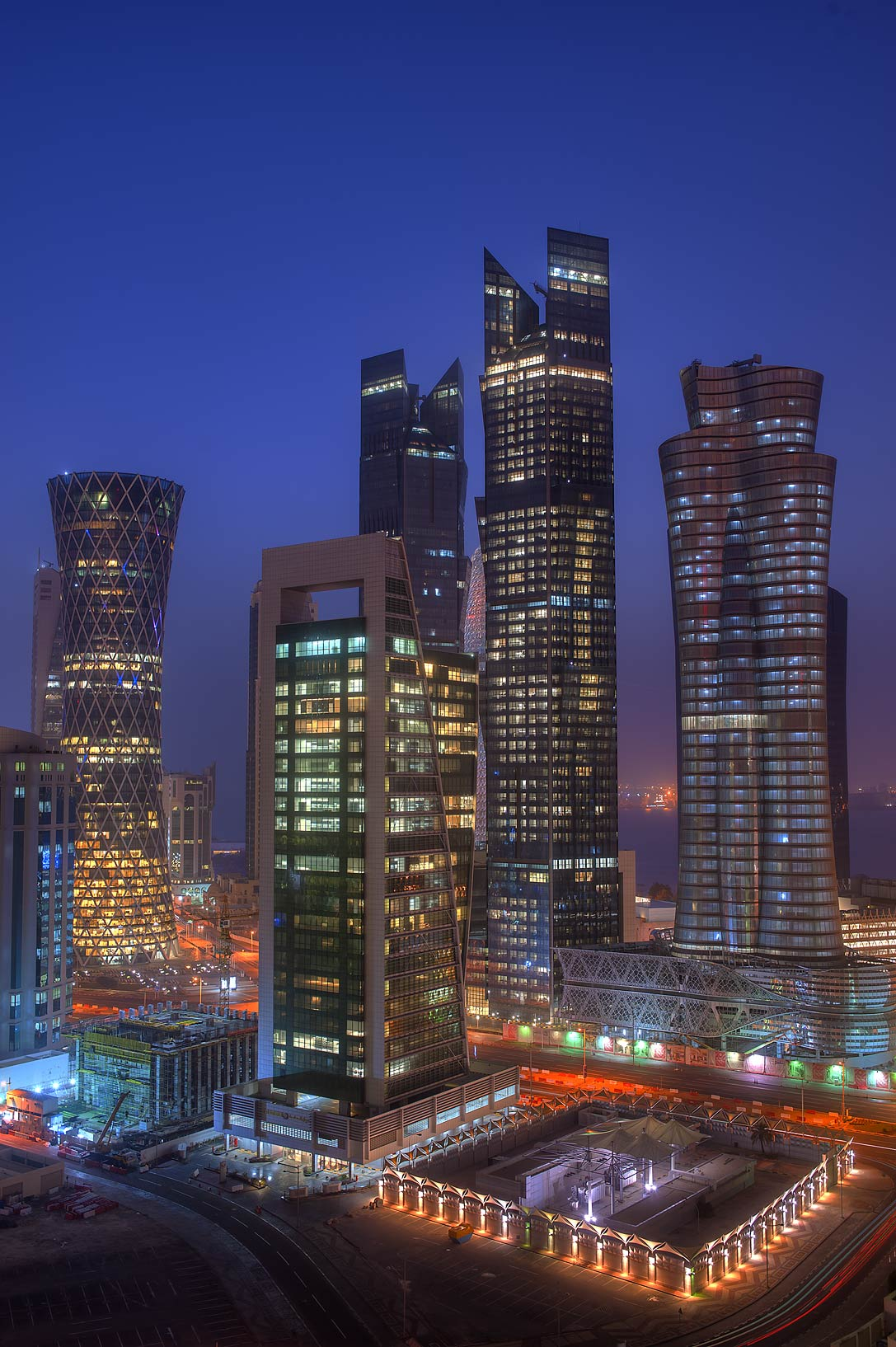 West Bay towers in morning dusk from a balcony of Room 1703 of Dareen Tower. Doha, Qatar