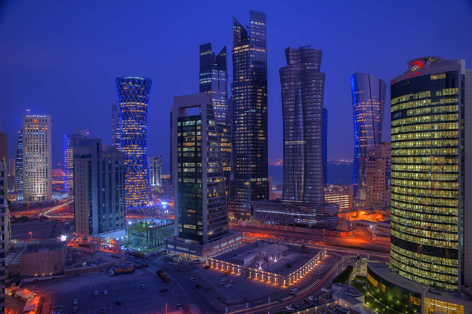 Area of Olympic Tower in West Bay in morning dusk...Room 1703 of Dareen Tower. Doha, Qatar