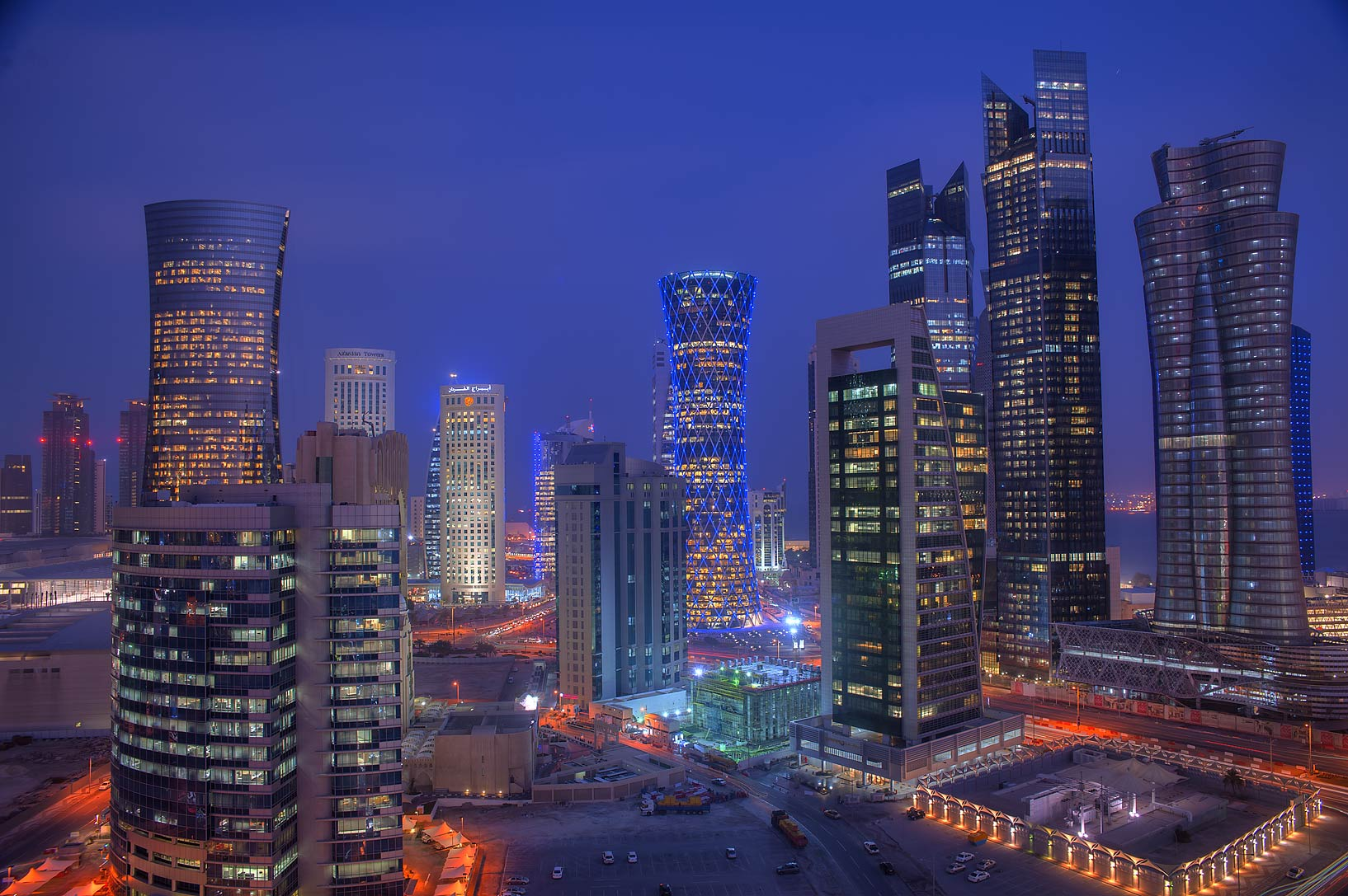 West Bay at evening from a balcony of Room 1703 of Dareen Tower. Doha, Qatar