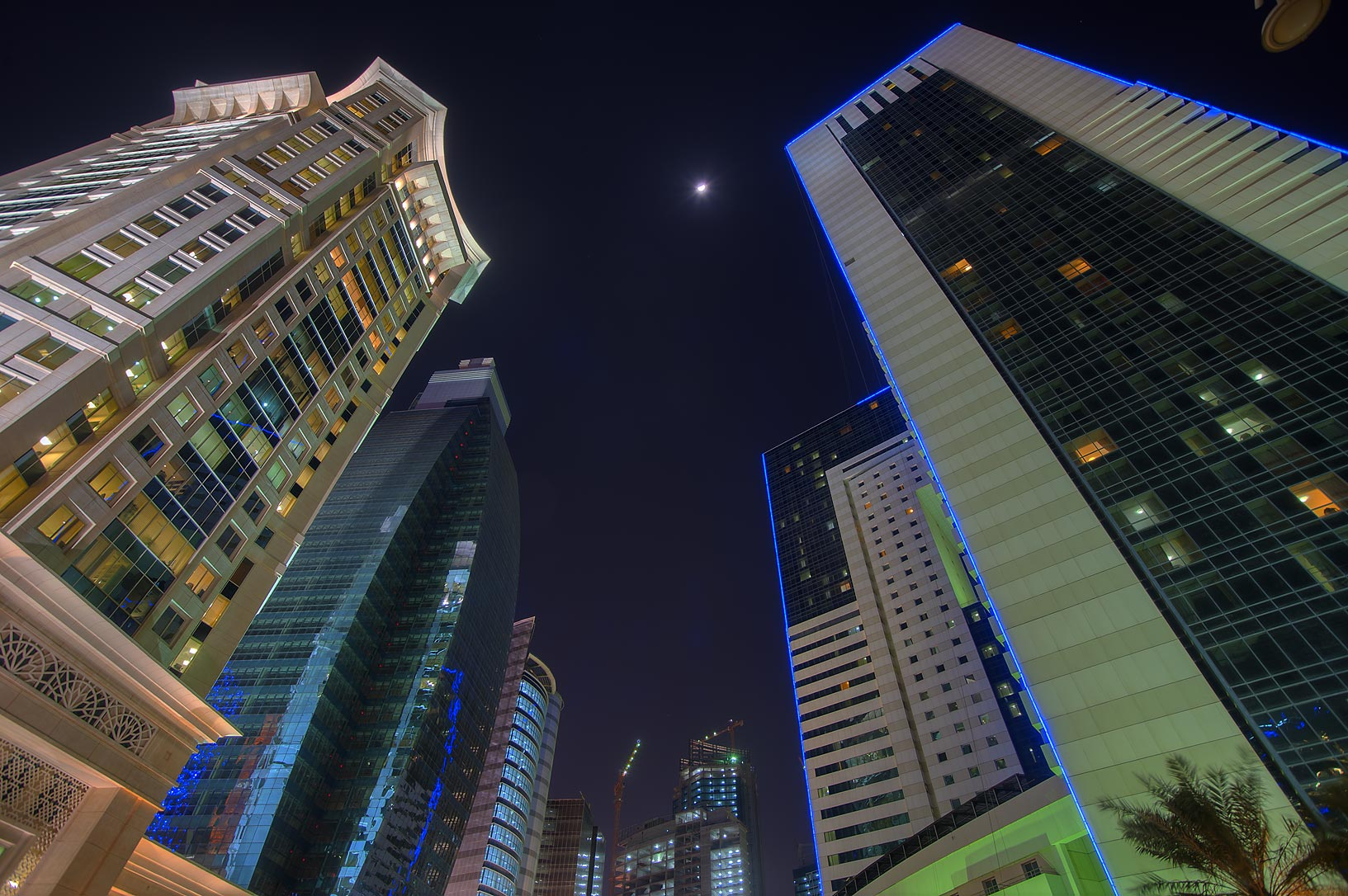Ezdan Hotel and Al Qassar Tower at Al Betra St. in West Bay. Doha, Qatar
