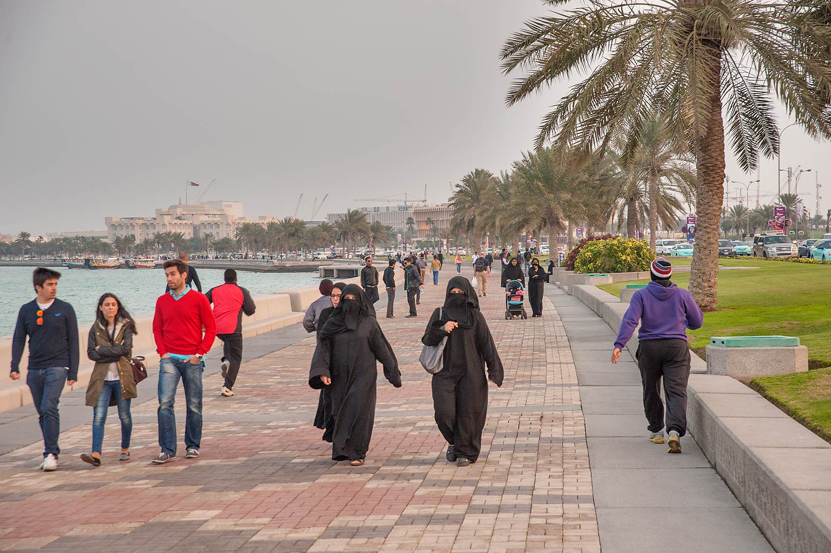 Corniche Promenade at evening. Doha, Qatar