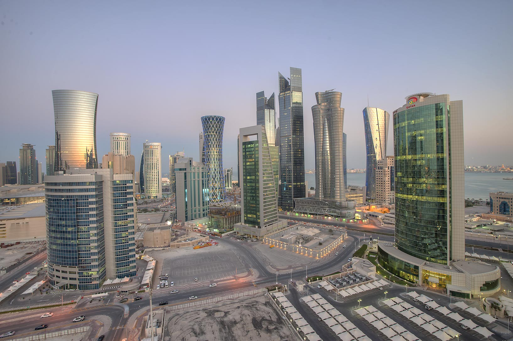 View of West Bay from balcony of Room 1703 of Dareen Tower. Doha, Qatar