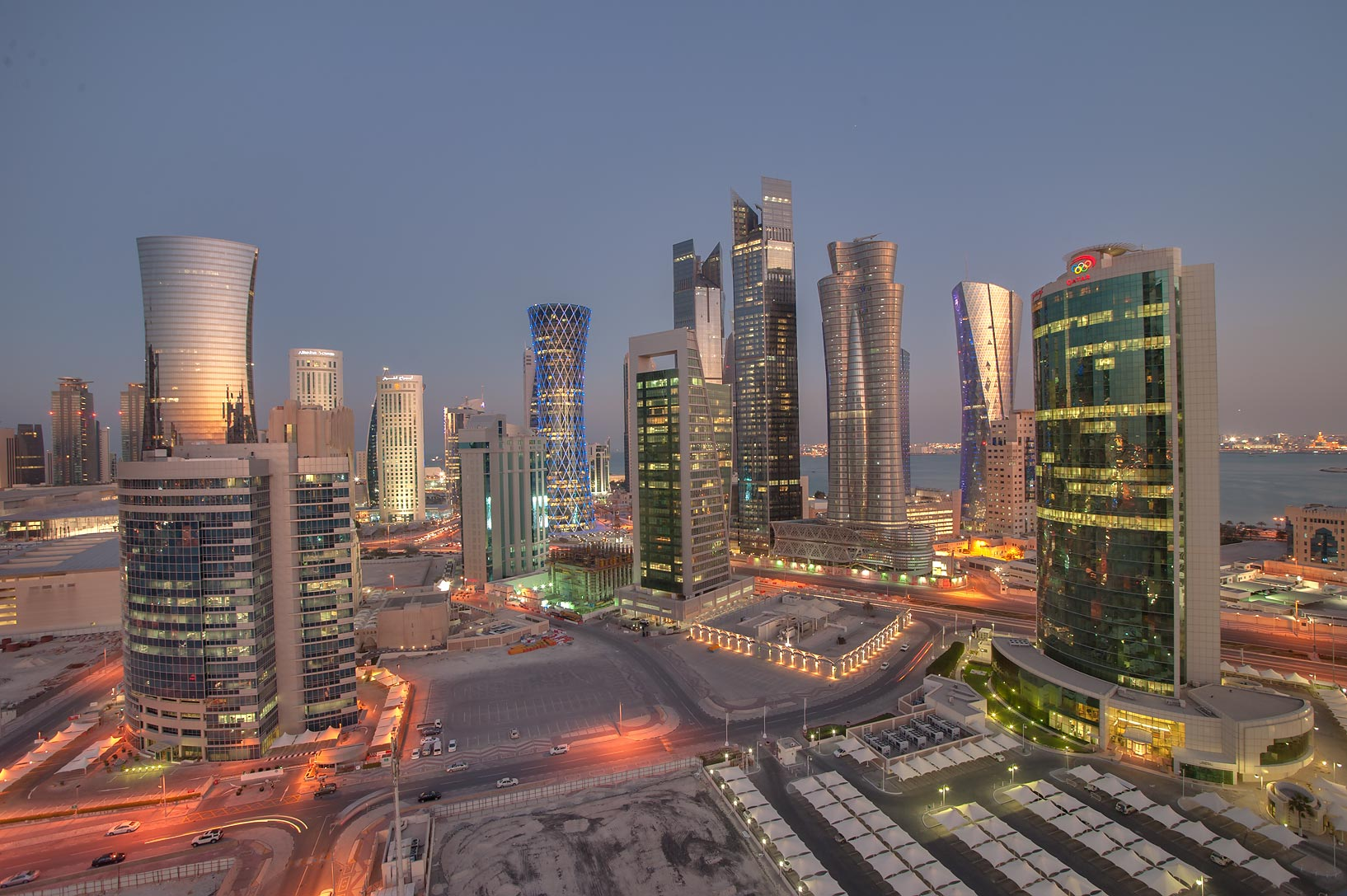 View of West Bay from balcony of Room 1703 of Dareen Tower at evening dusk. Doha, Qatar