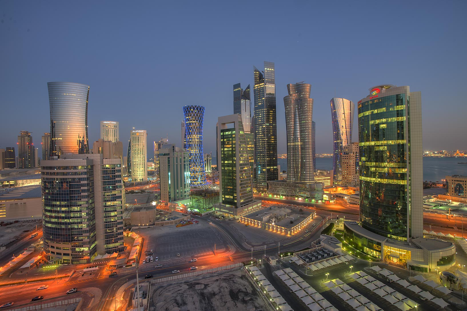 West Bay from balcony of Room 1703 of Dareen Tower at evening. Doha, Qatar